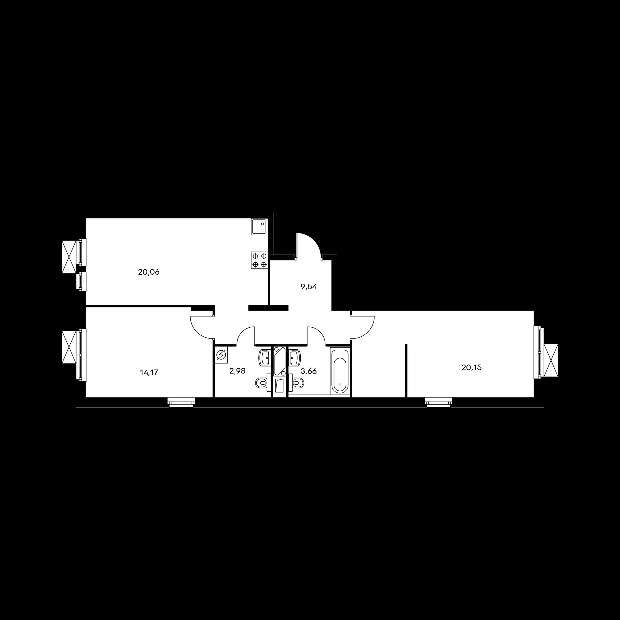 2-комнатная 70.5  м²