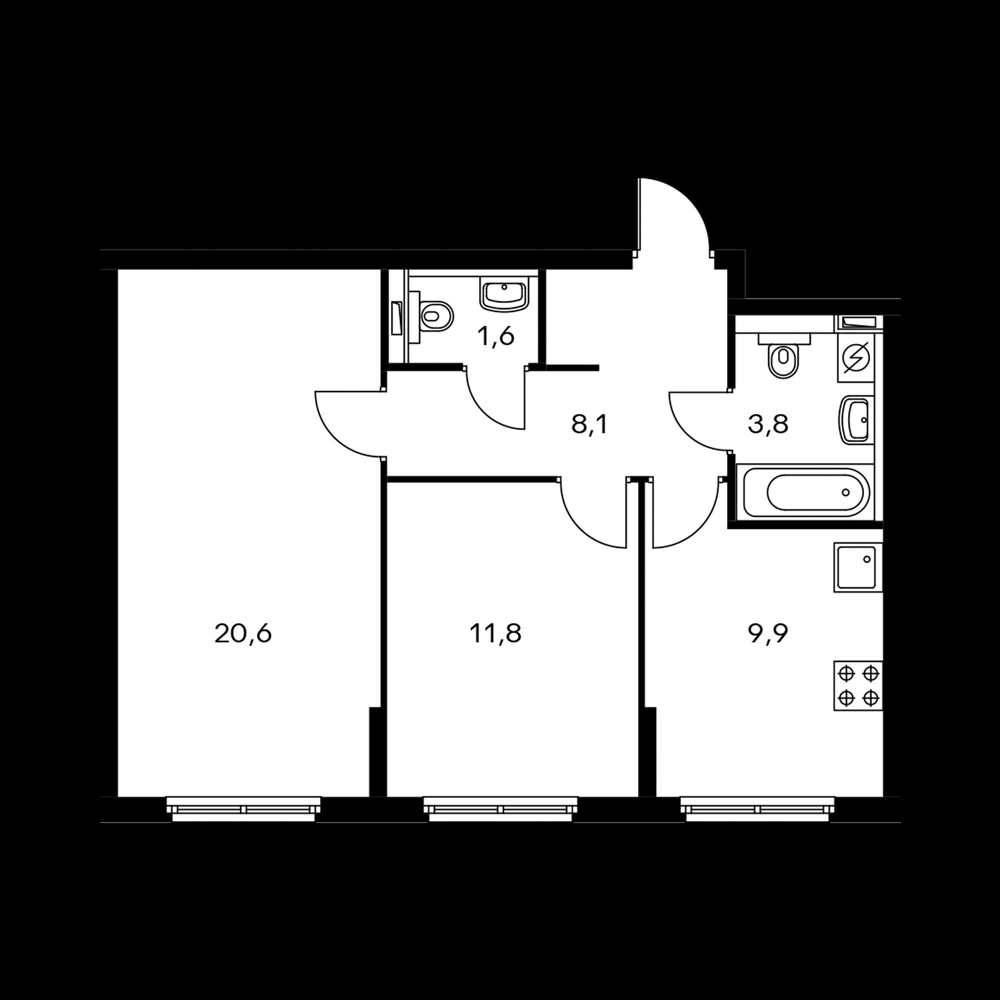 2-комнатная 55.8  м²