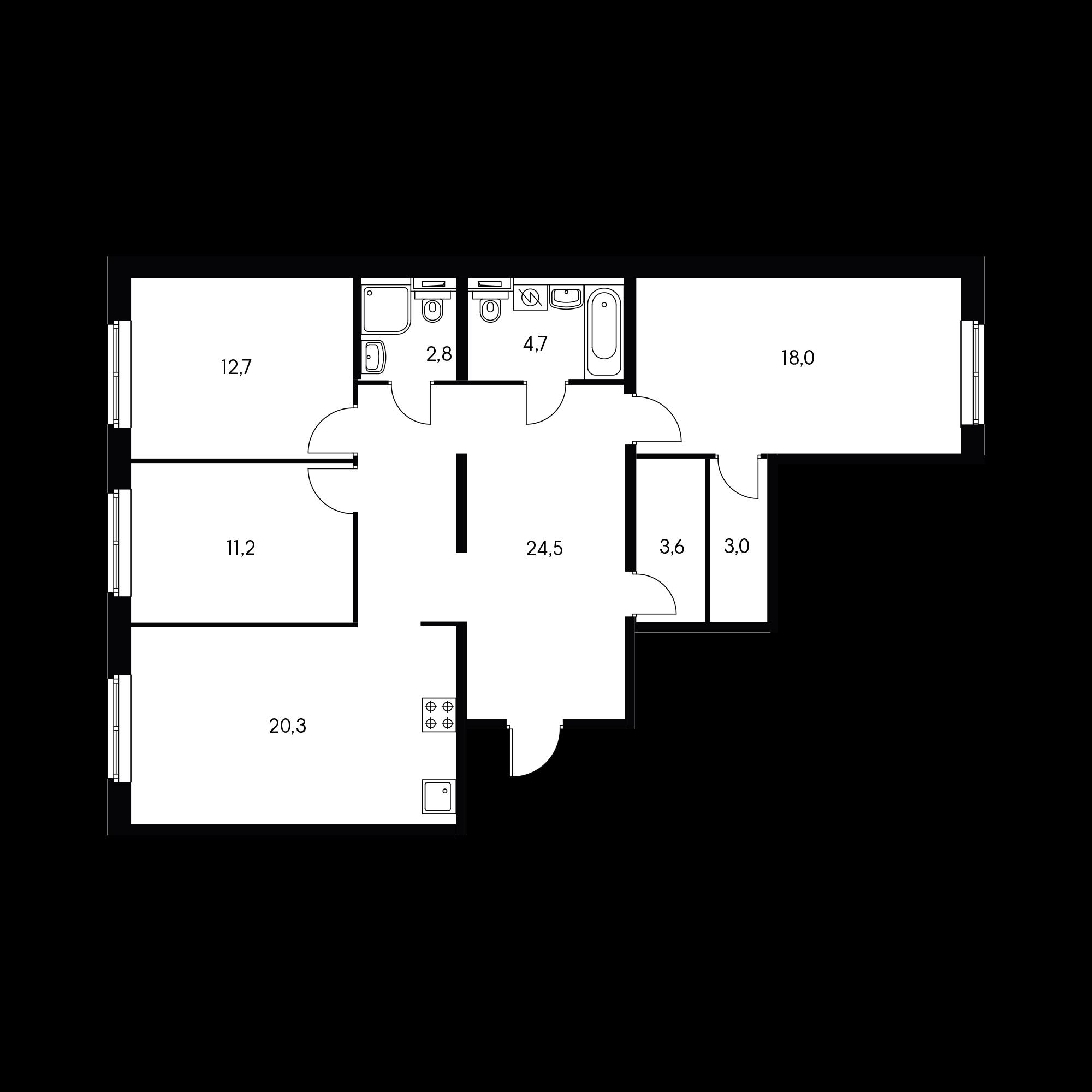 3-комнатная 100.7 м²
