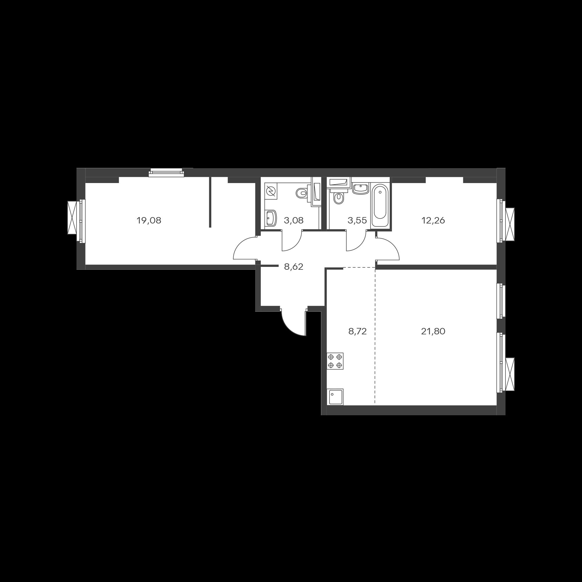 3-комнатная 77.11  м²