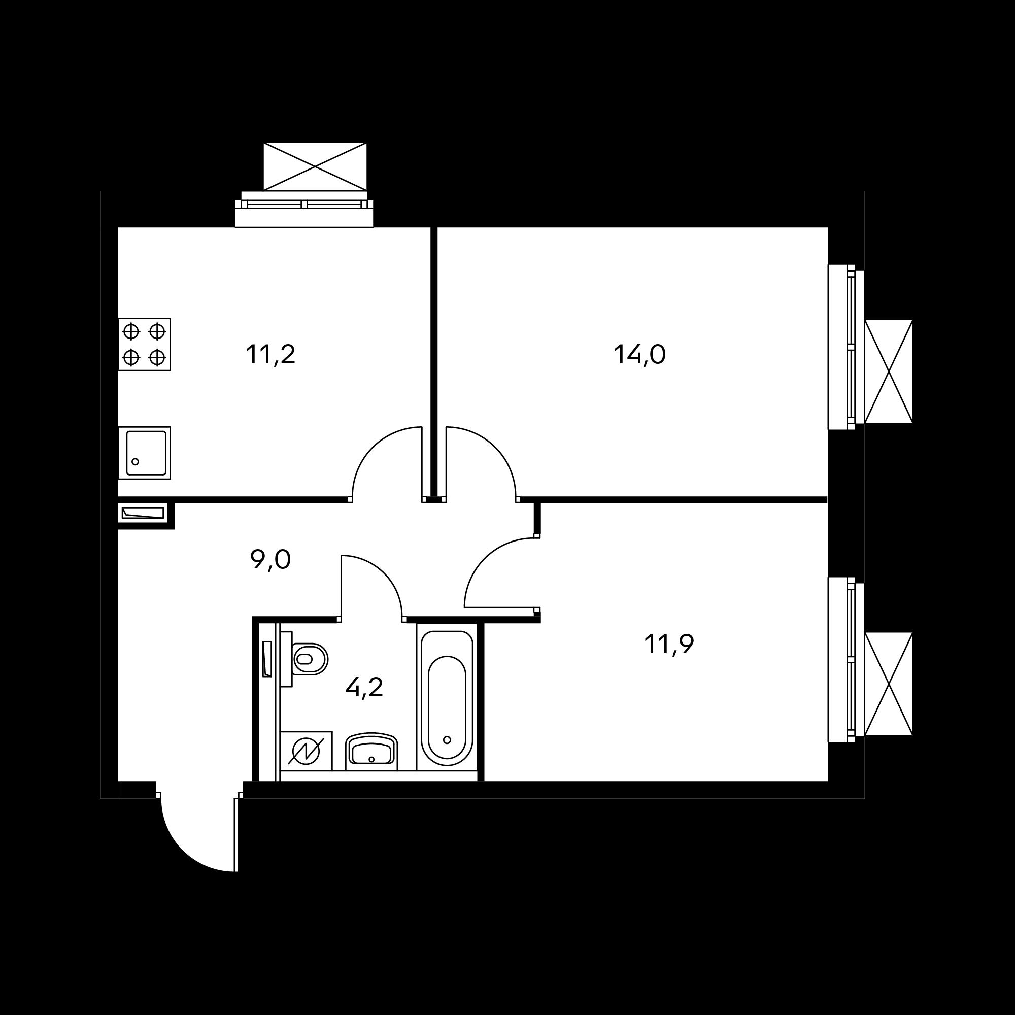 2-комнатная 50.2  м²