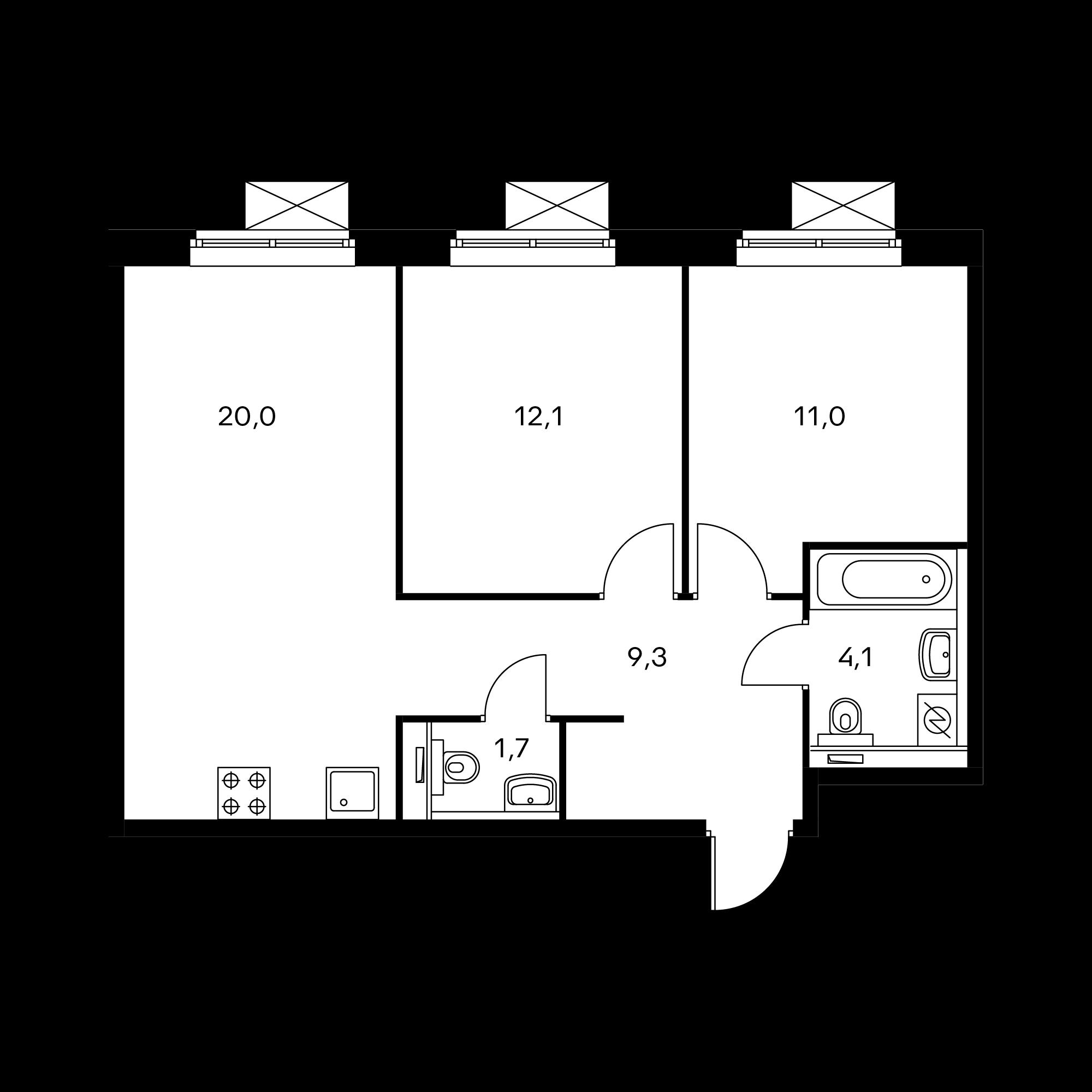 2-комнатная 57.9 м²
