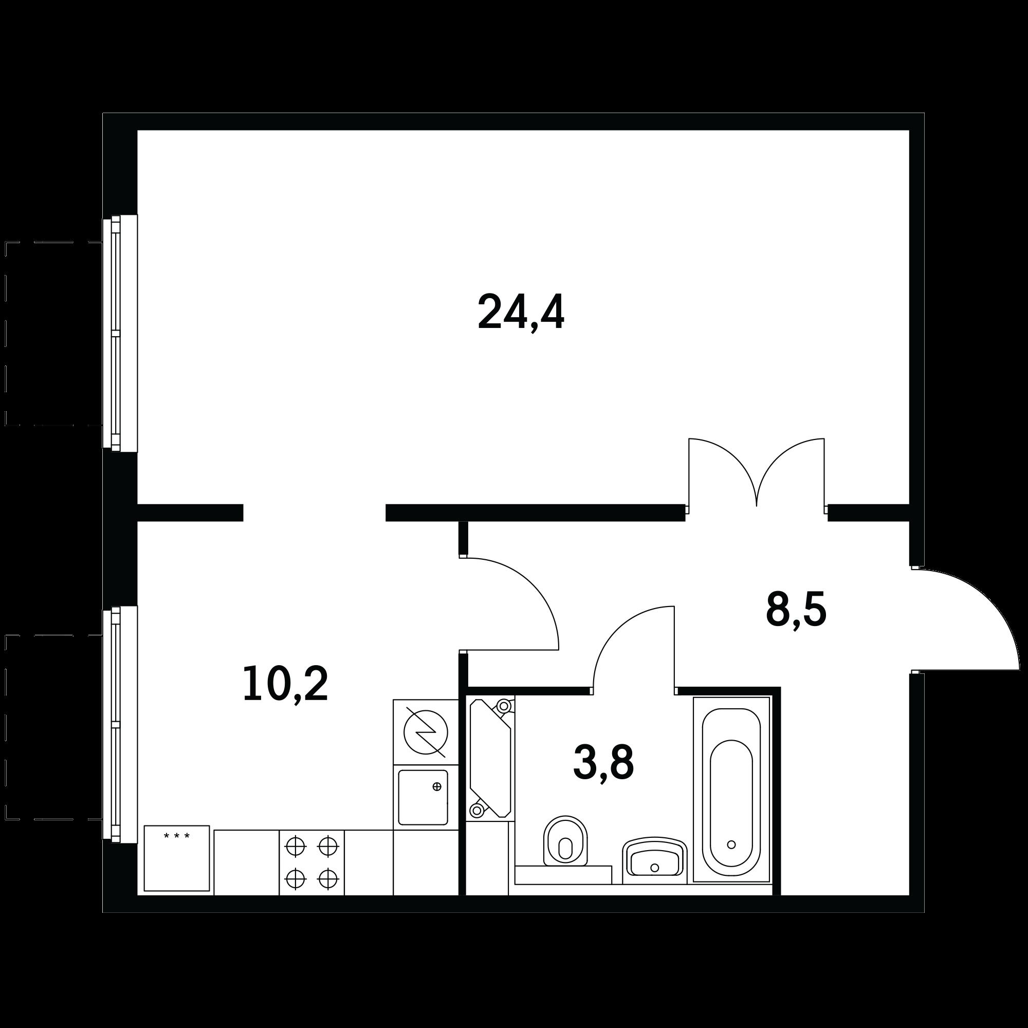 1-комнатная 46.3  м²