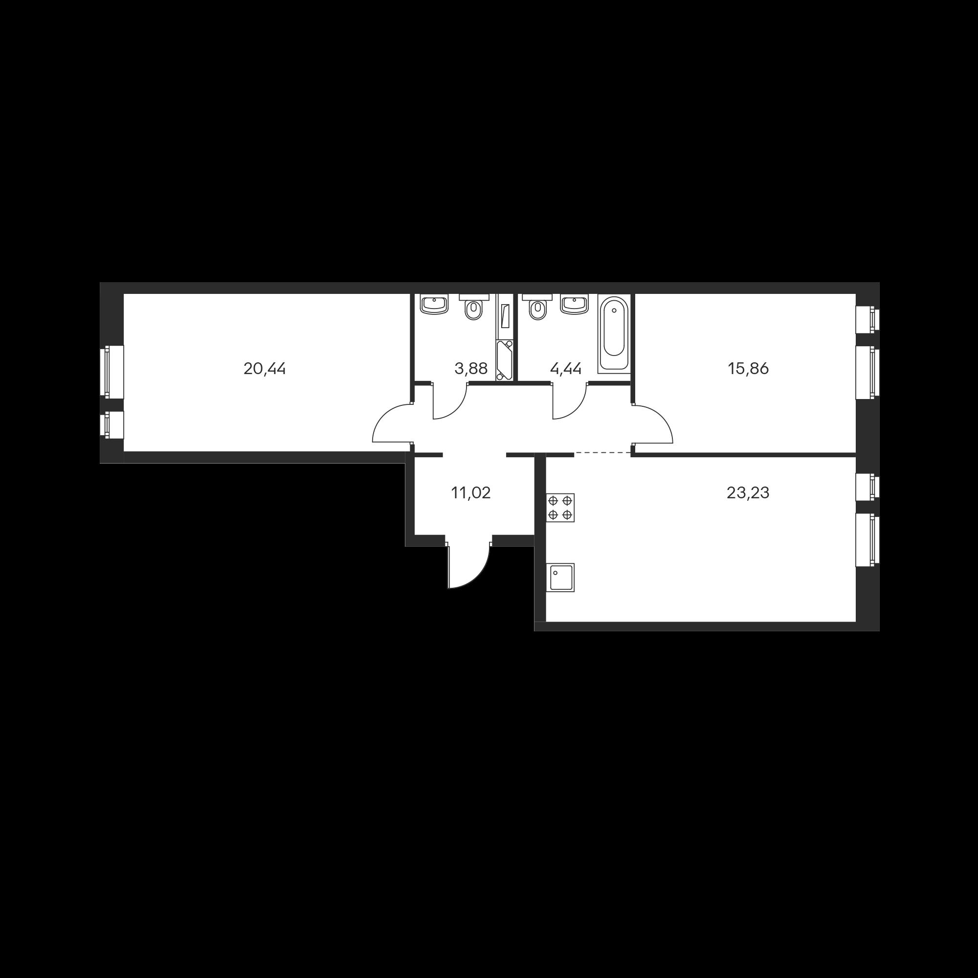 2-комнатная 78.87 м²