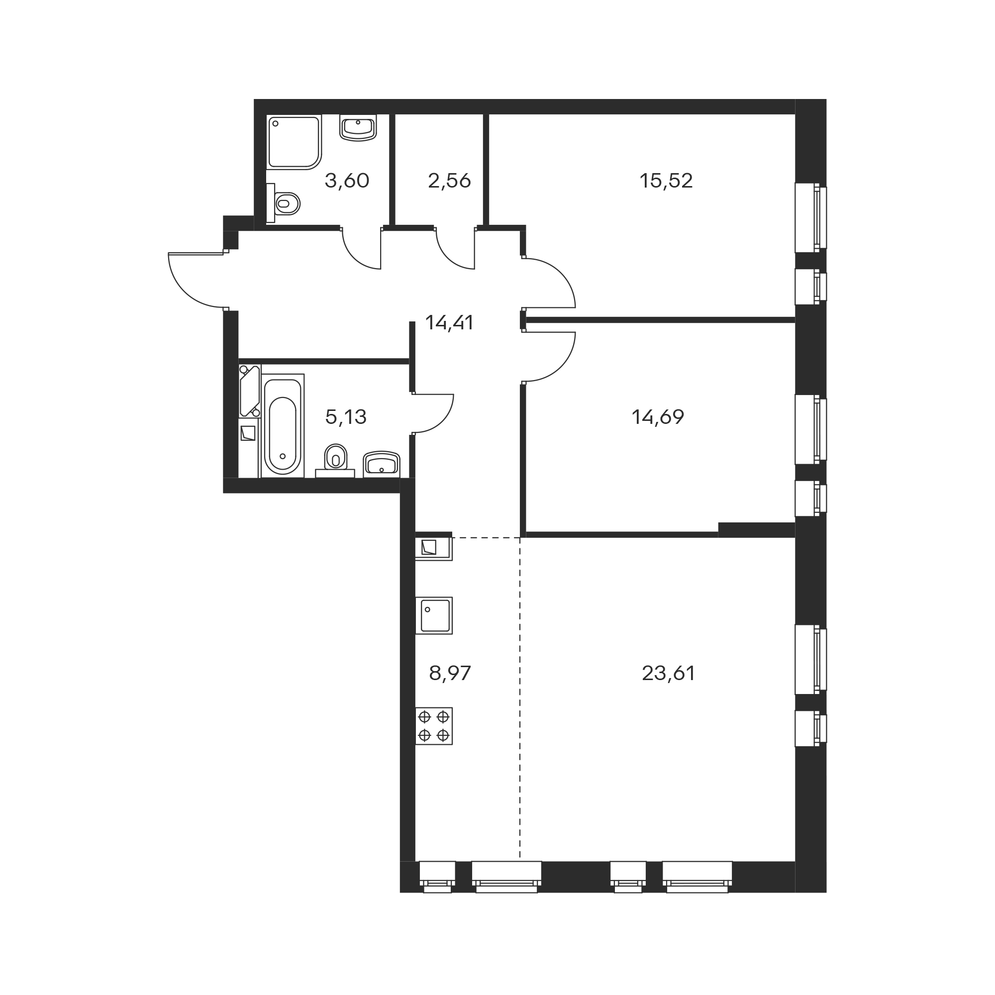 3-комнатная 88.49 м²