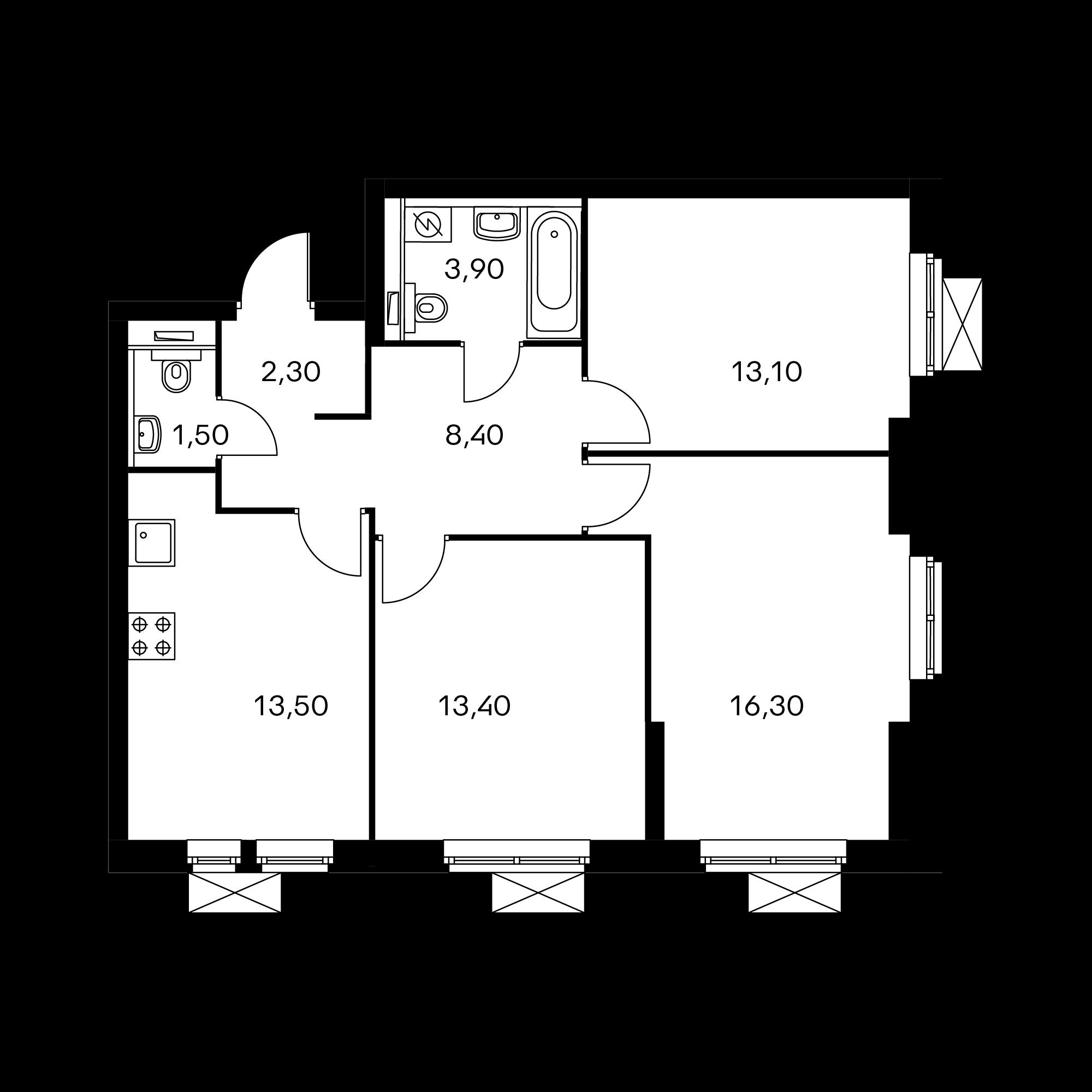 3-комнатная 72.4  м²