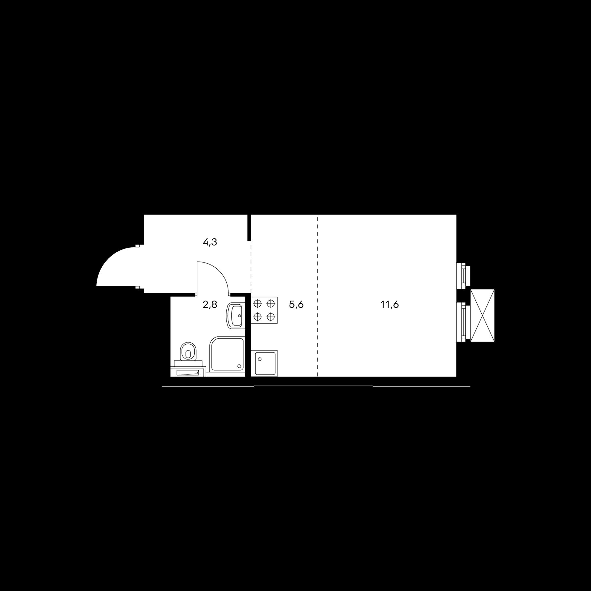 Студия 24.2  м²