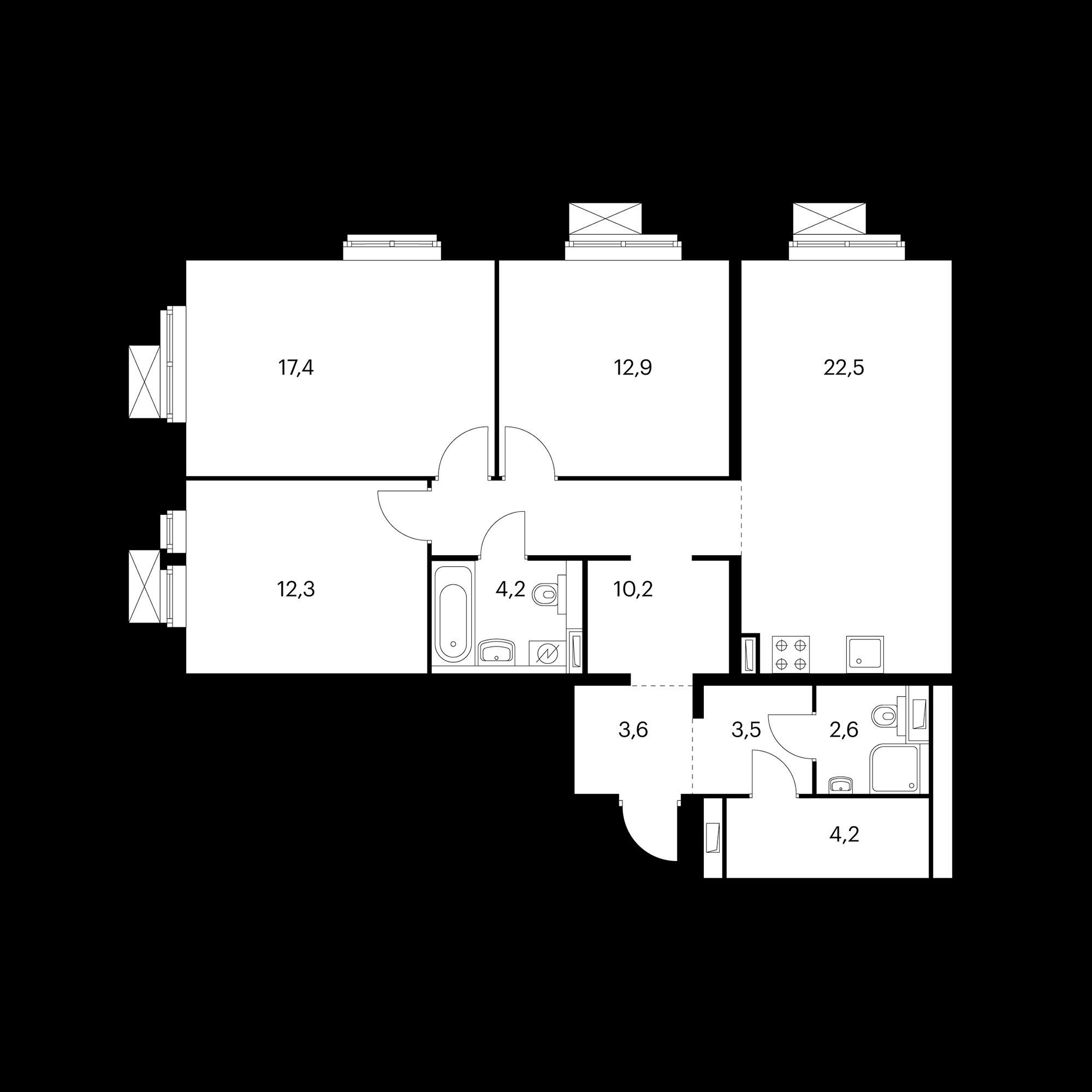 3-комнатная 93.4  м²