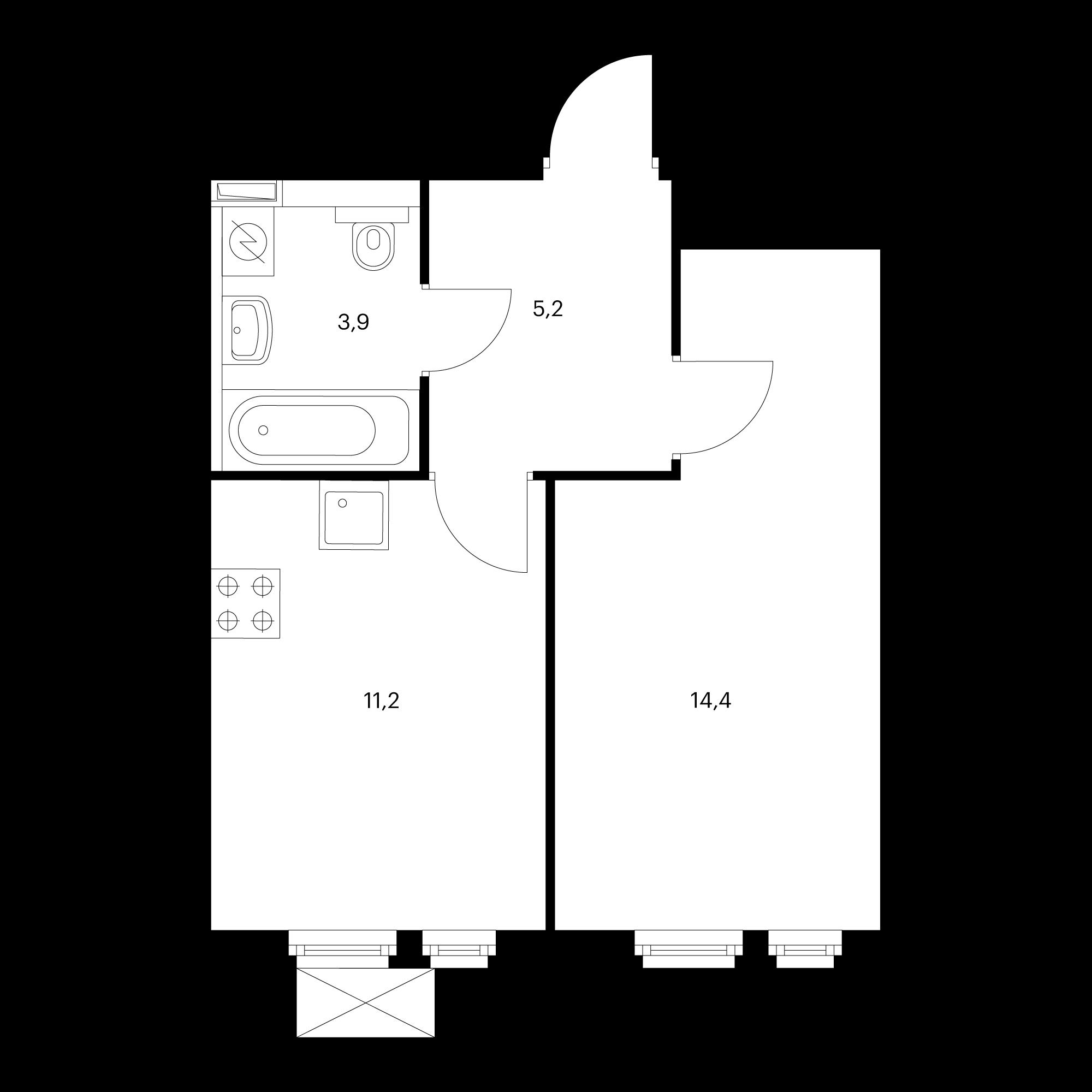1-комнатная 34.7  м²