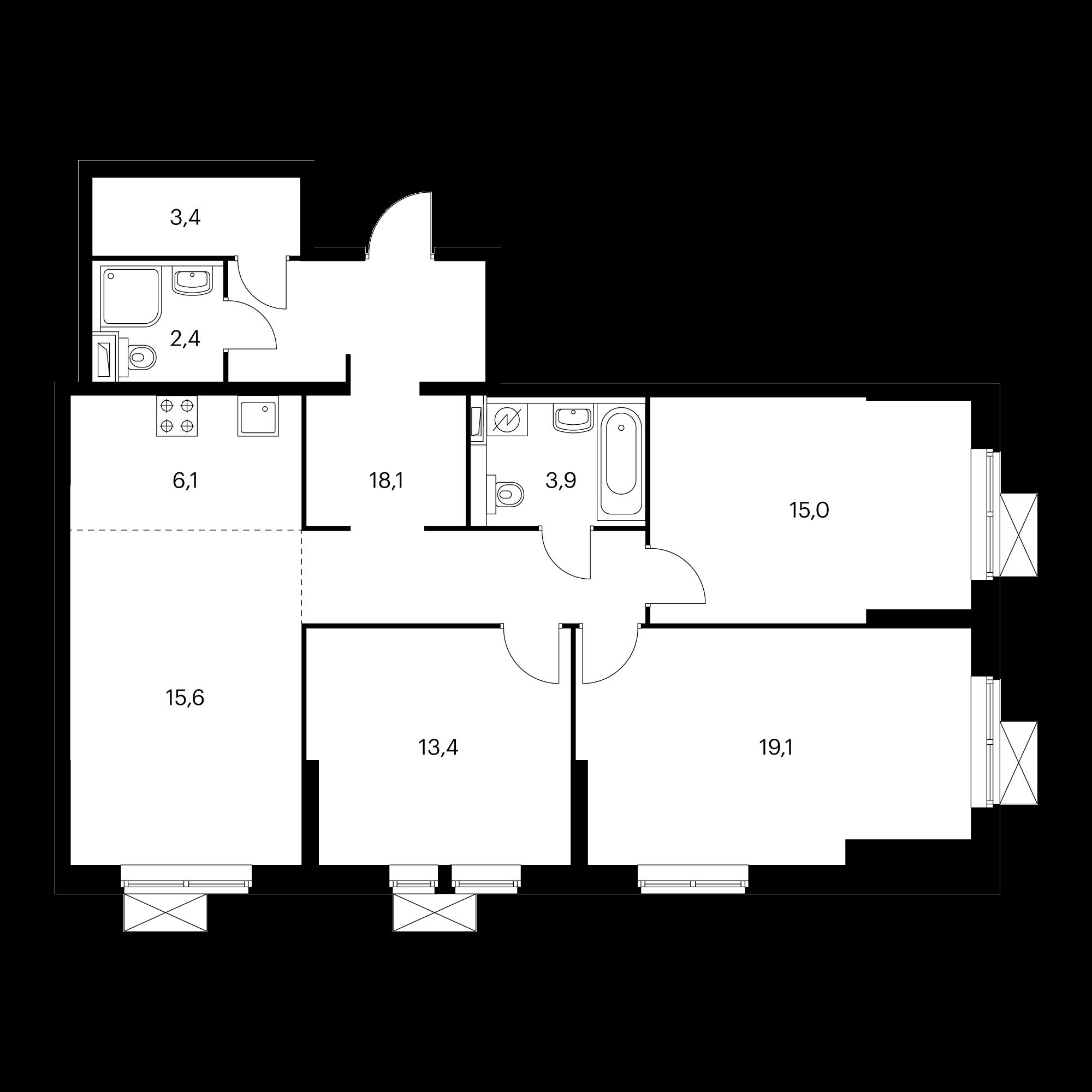 4-комнатная 97 м²