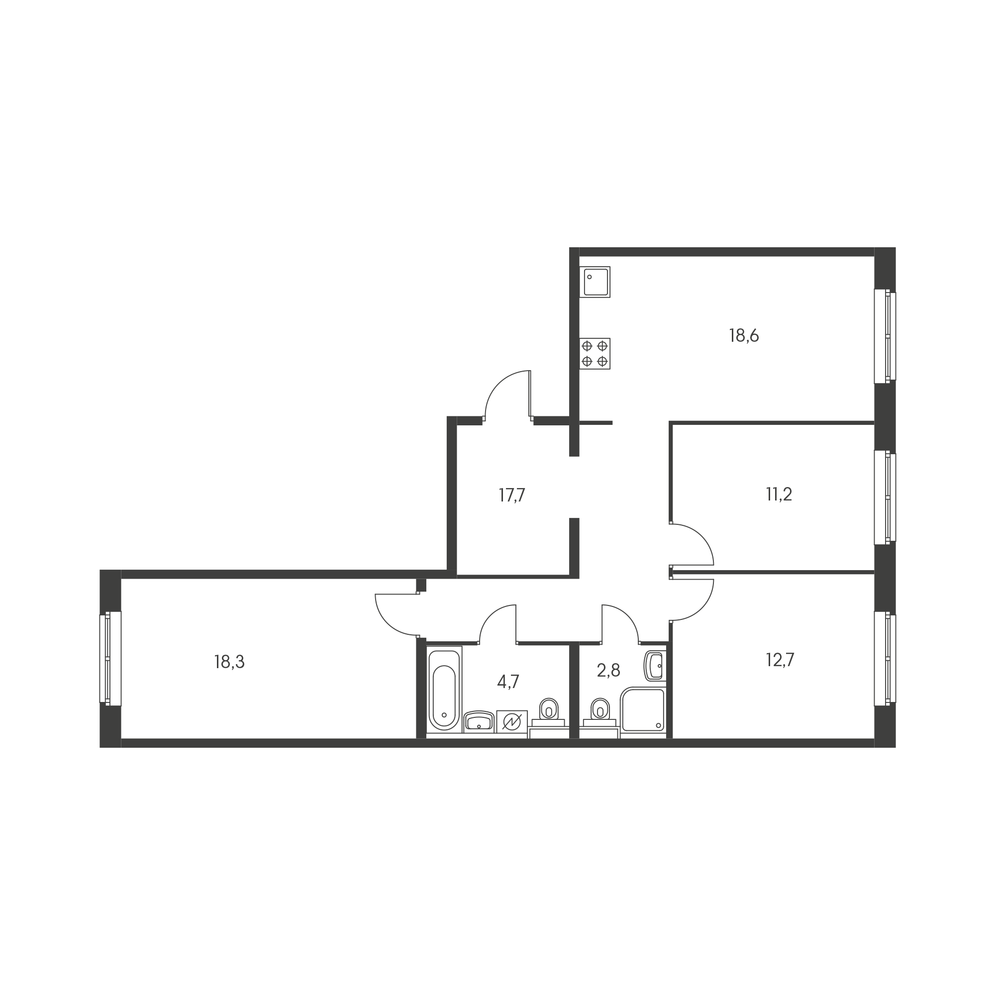 3-комнатная 83.8 м²