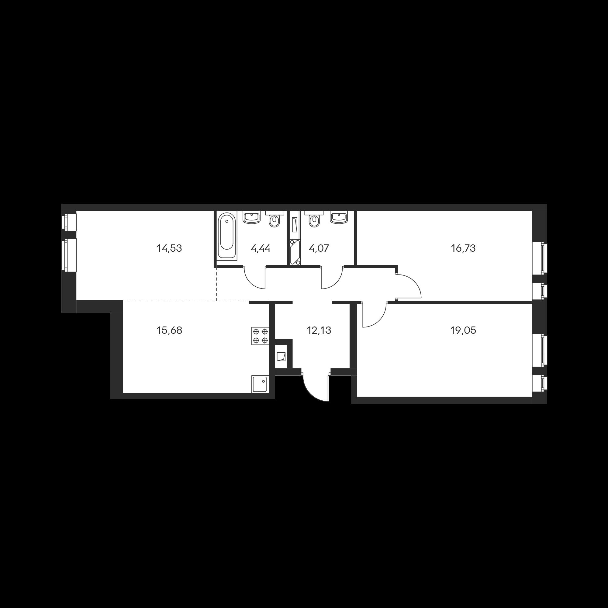 3-комнатная 86.63 м²