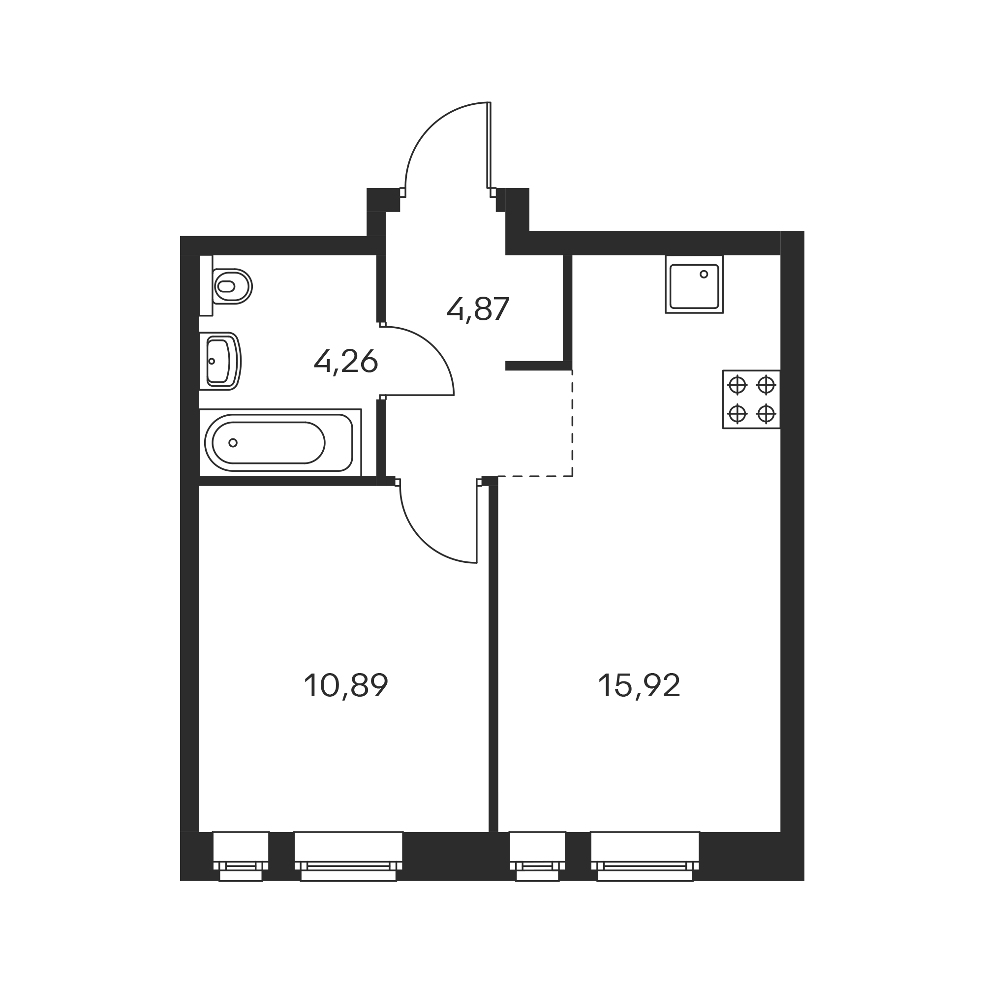1-комнатная 35.94  м²