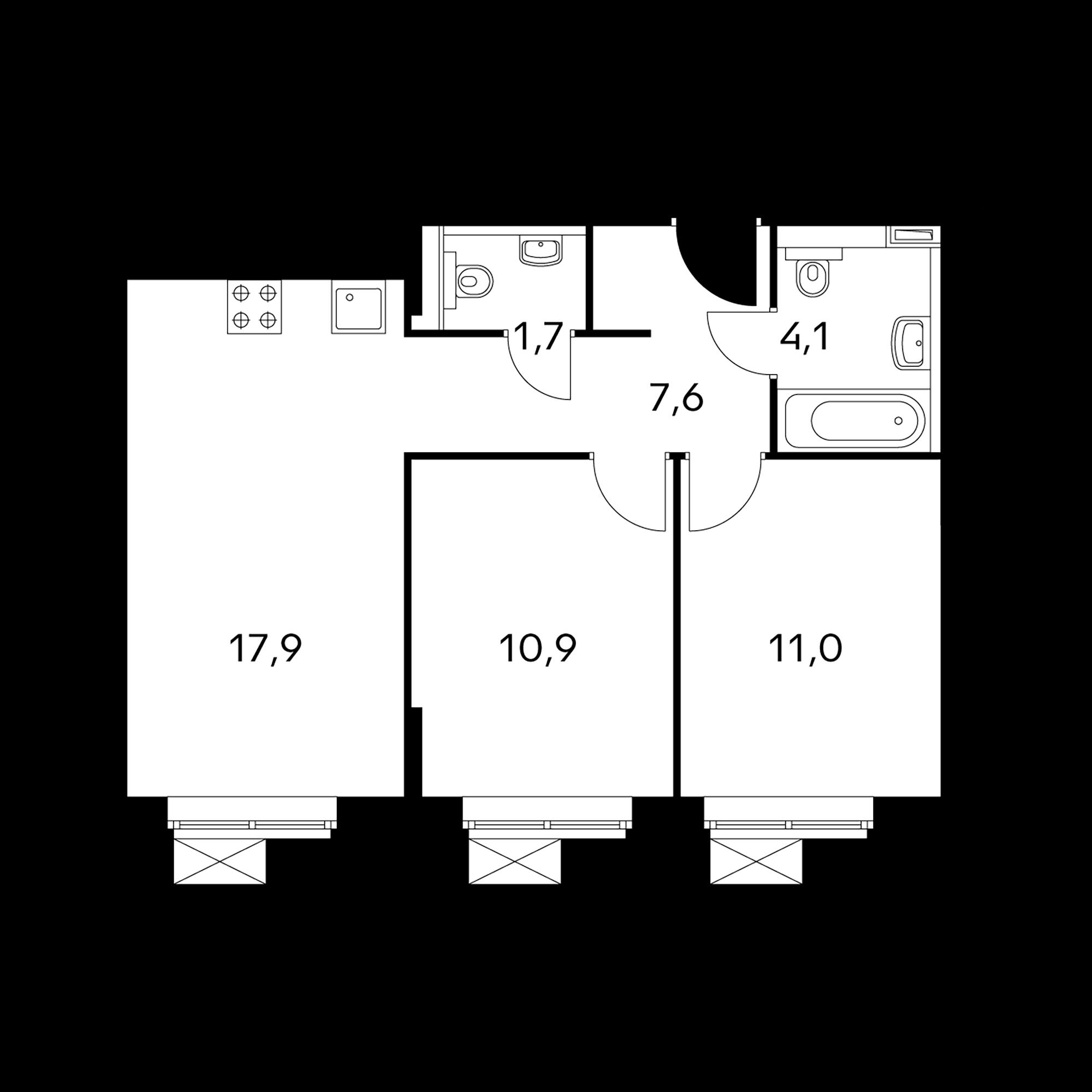 2-комнатные 53.2 м²