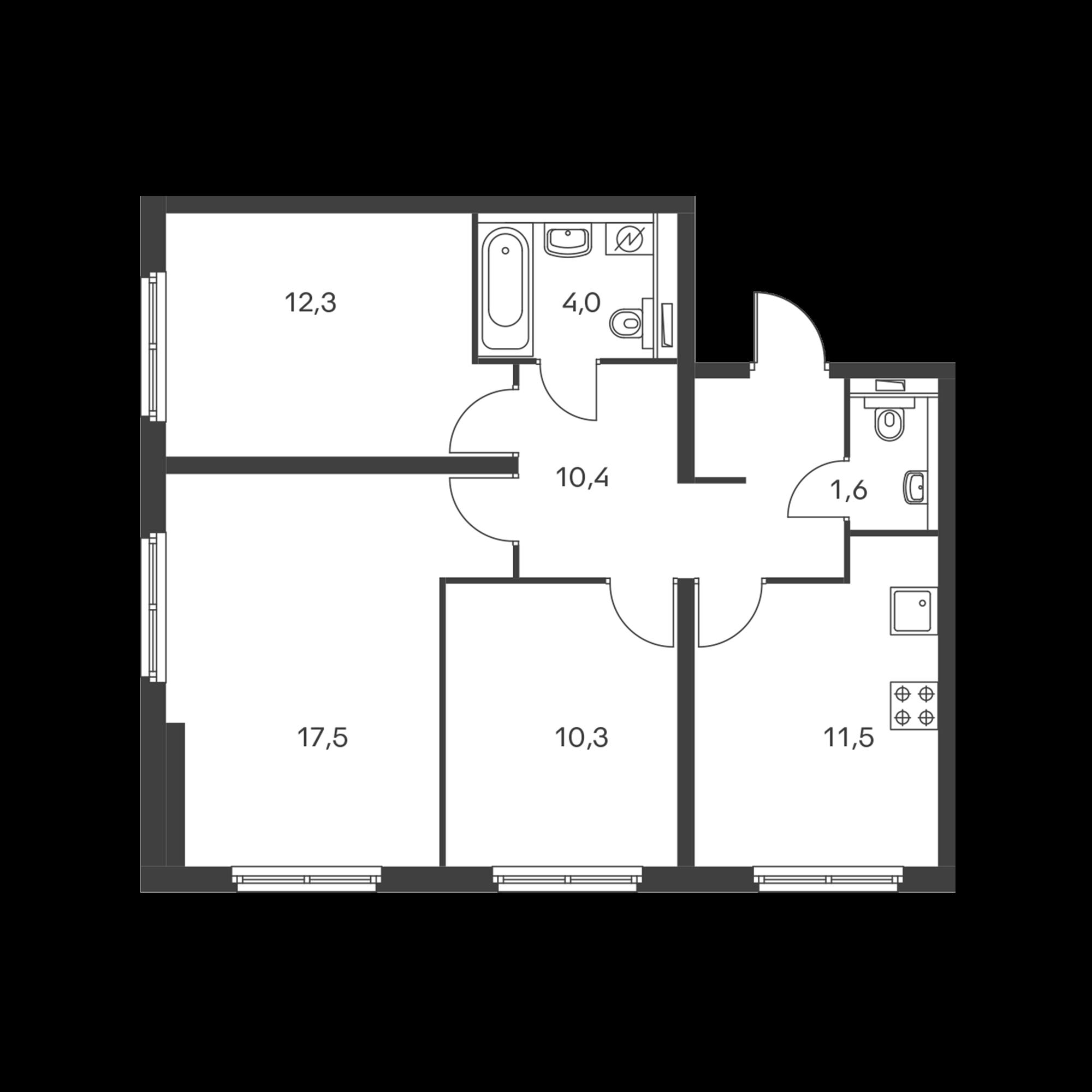 3-комнатная 67.6  м²