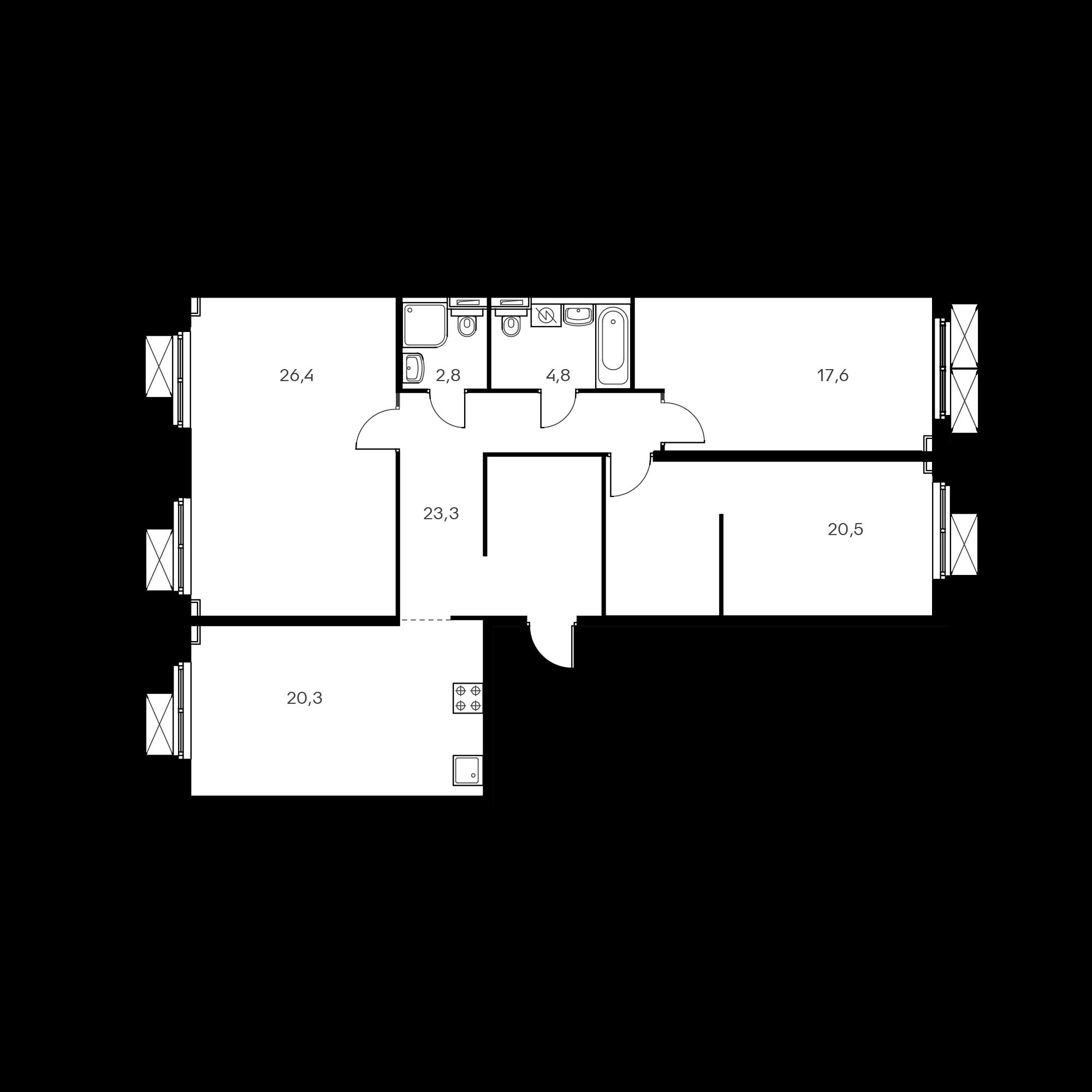 3-комнатная 116.7  м²