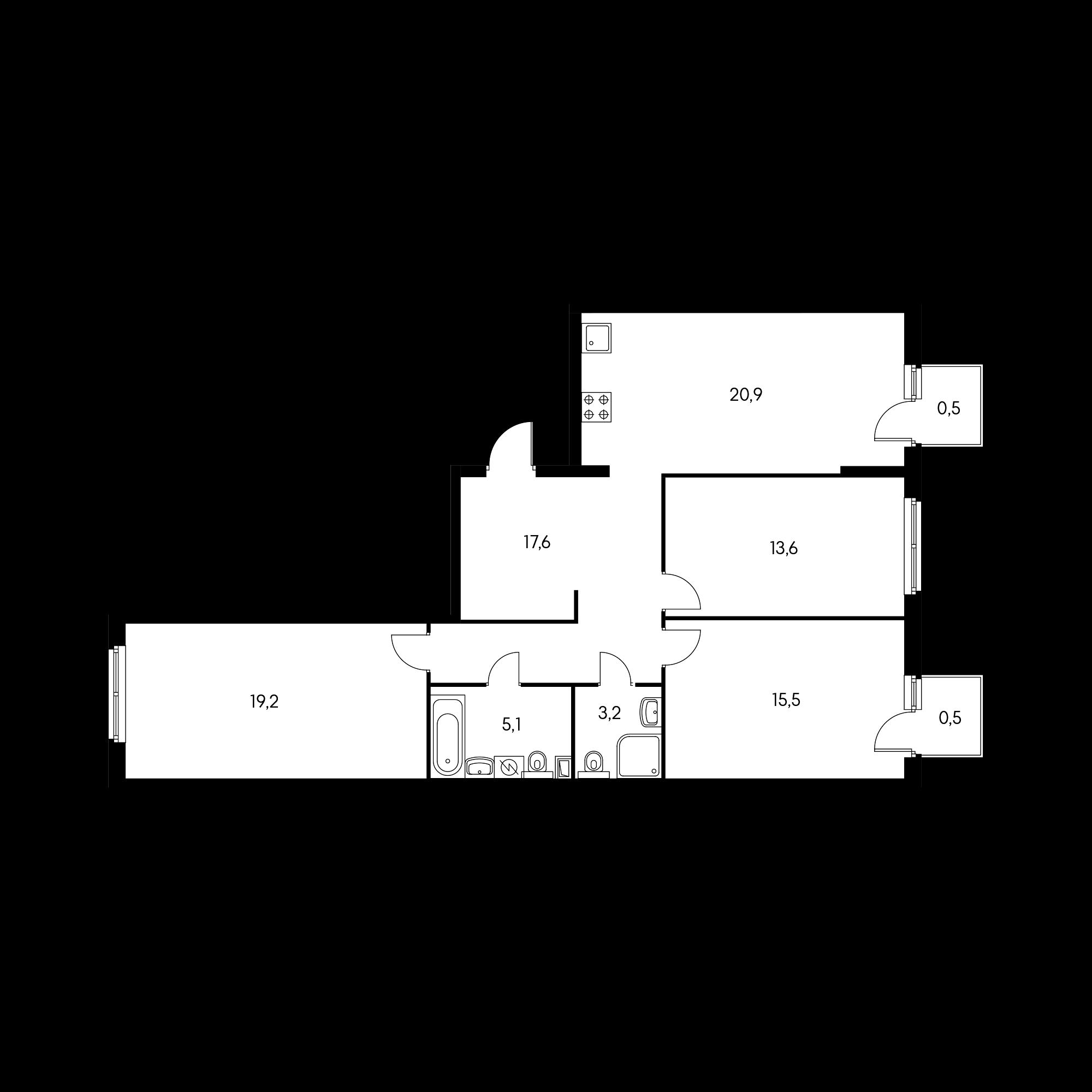 3-комнатная 96.1  м²