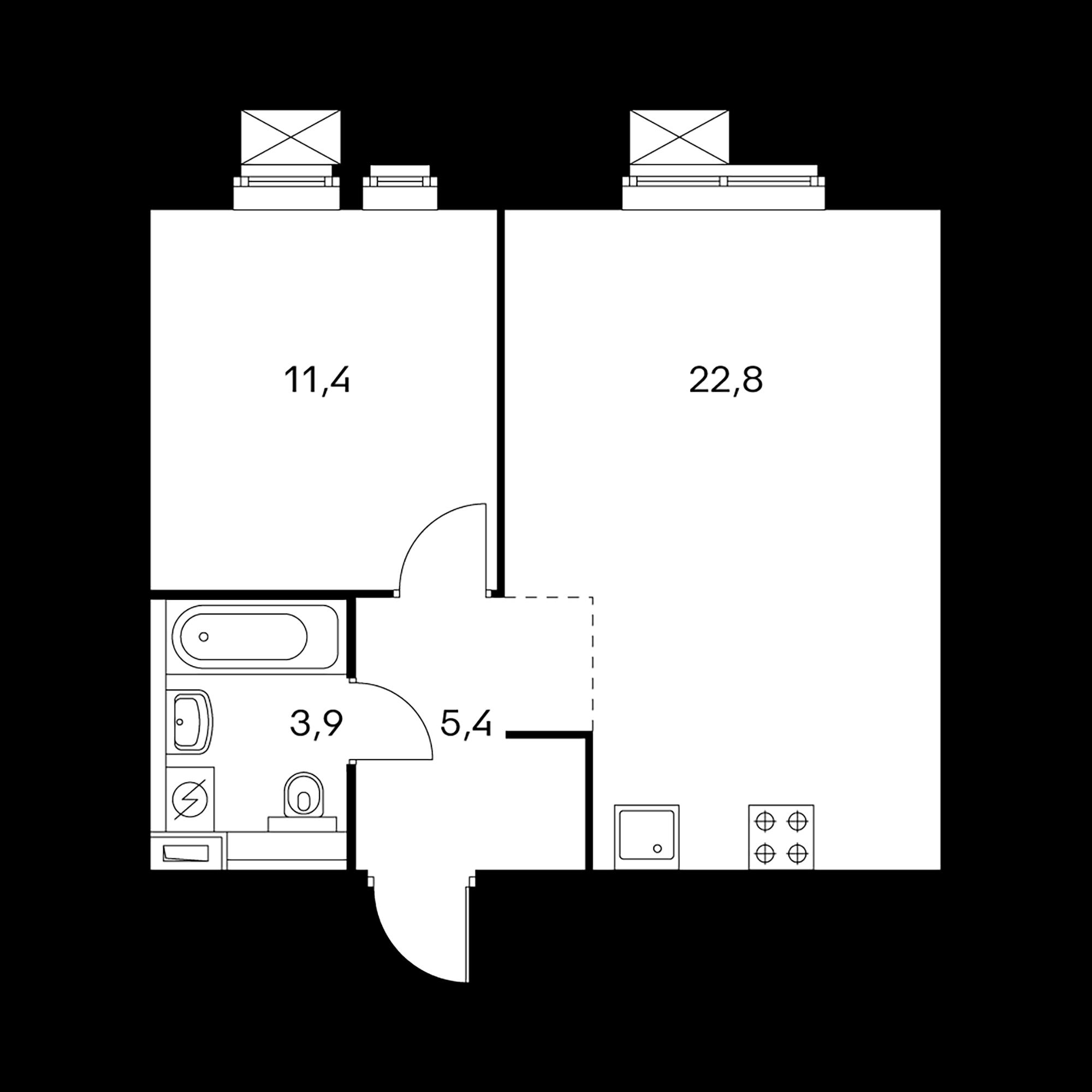 1-комнатная 43.5 м²