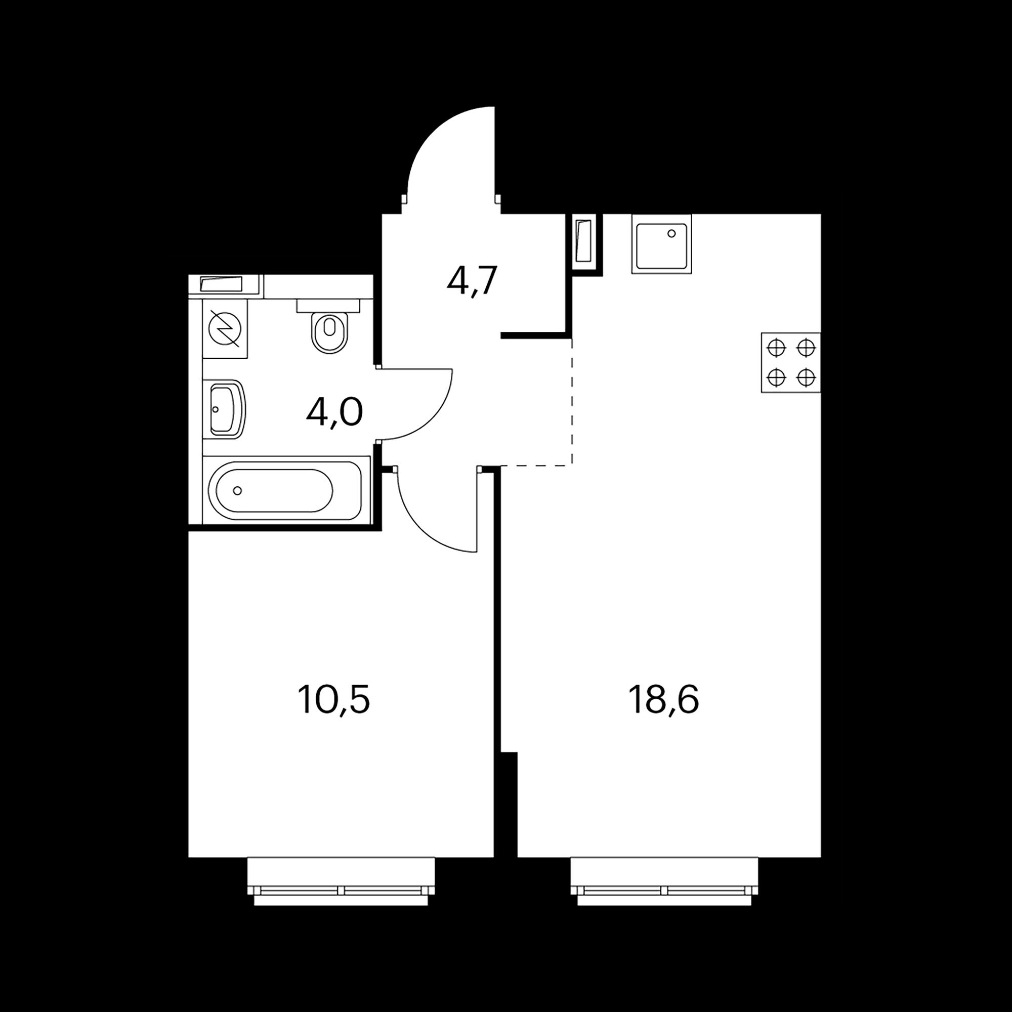 1-комнатная 37.8  м²