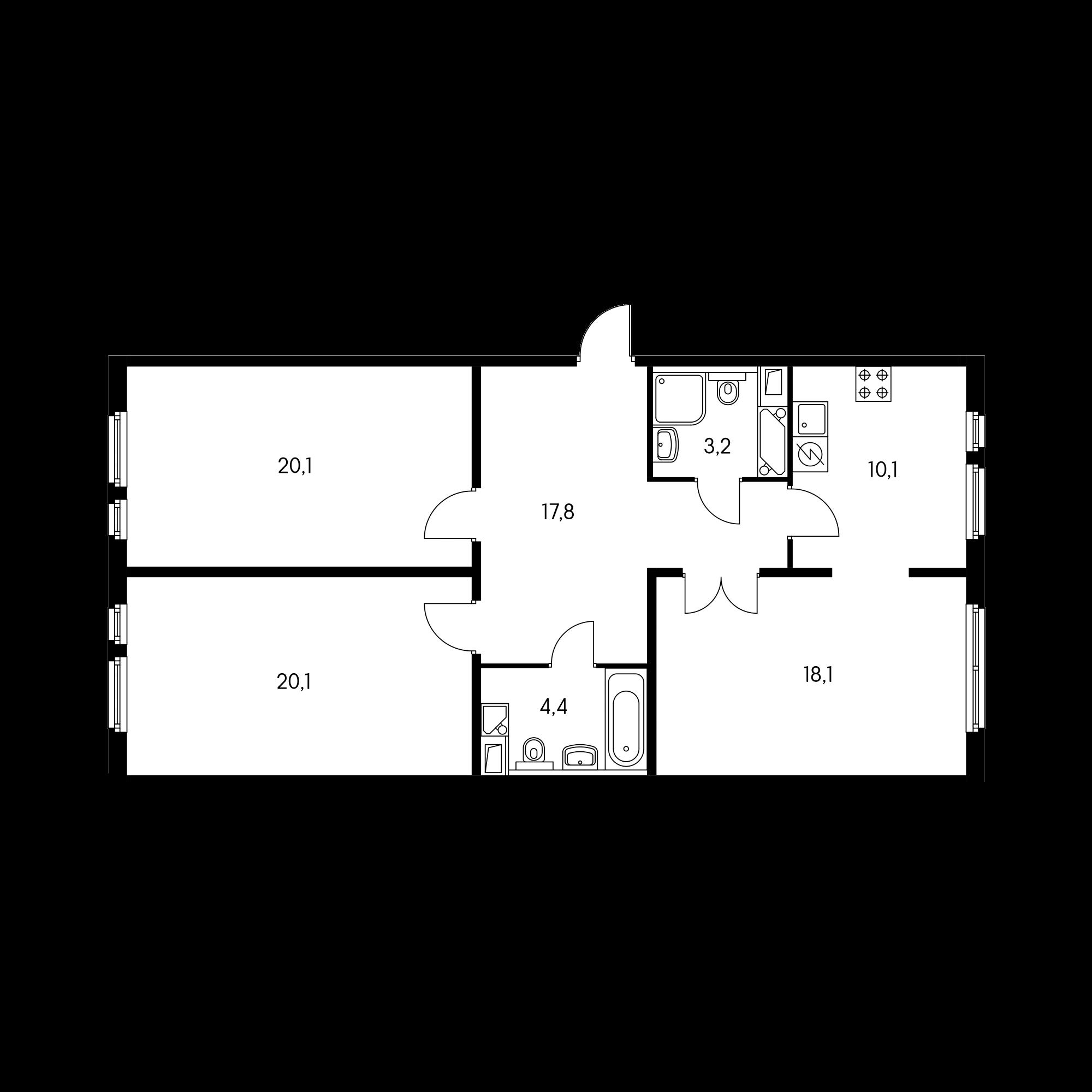3-комнатная 94.2  м²