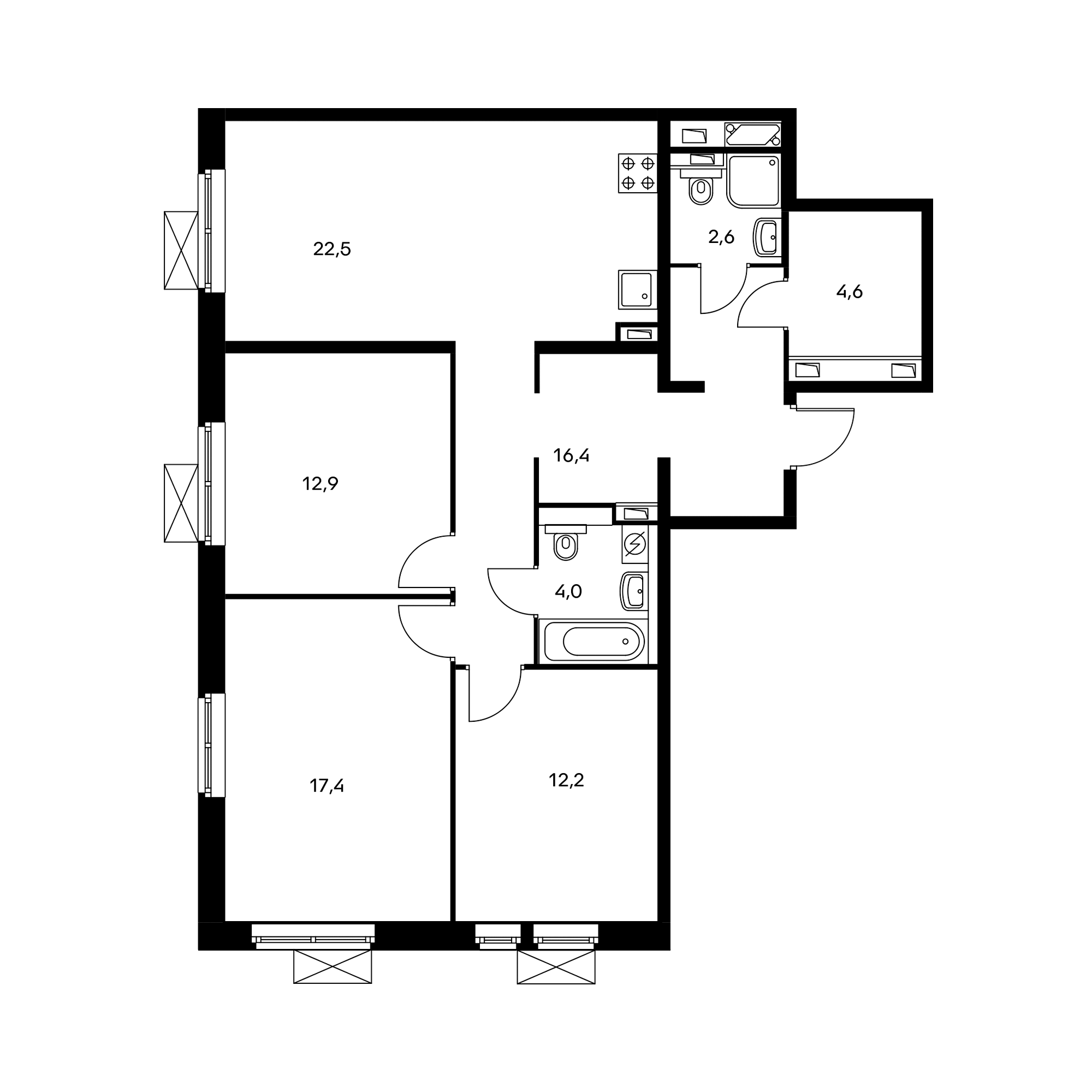 3-комнатная 92.6 м²