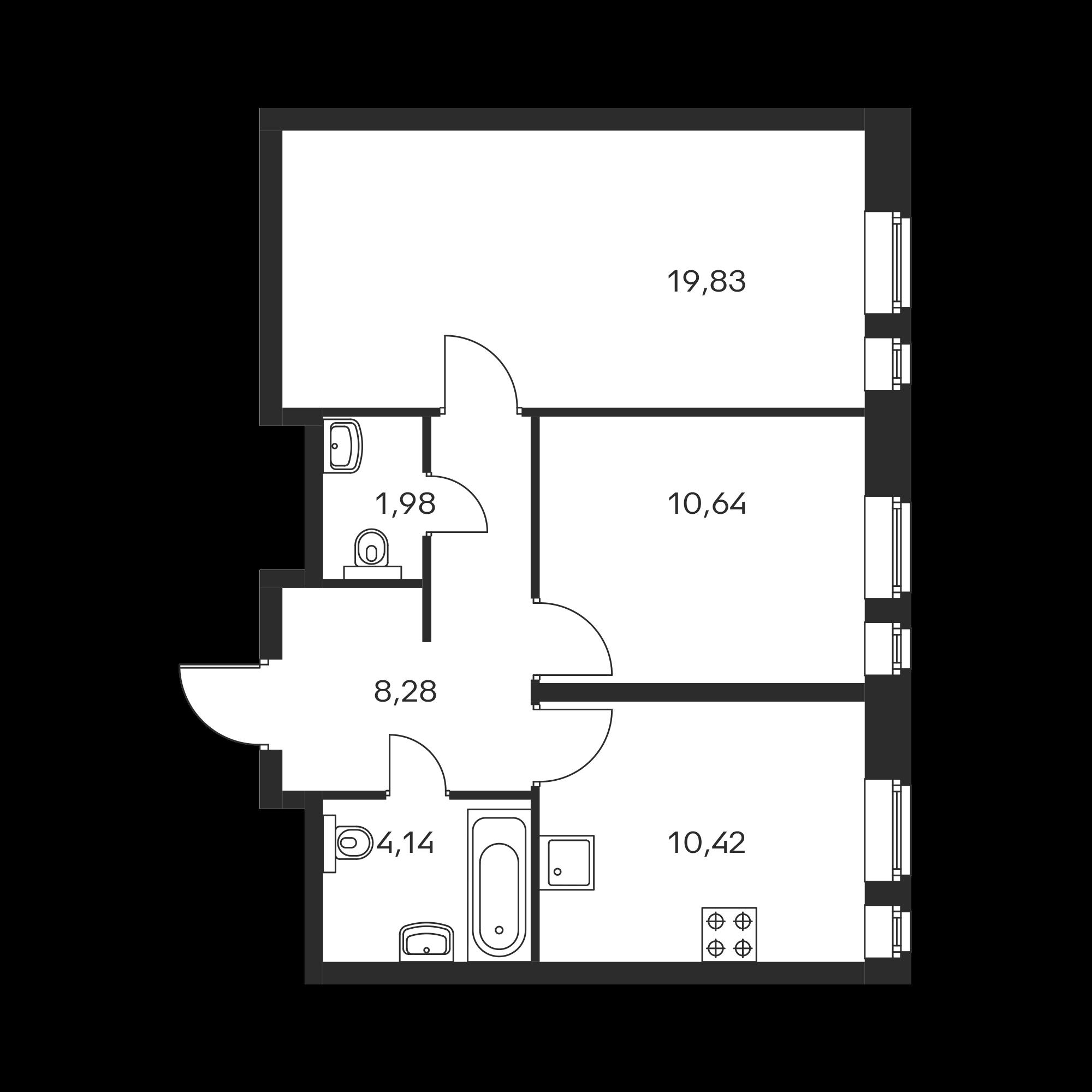 2-комнатная 55.29 м²