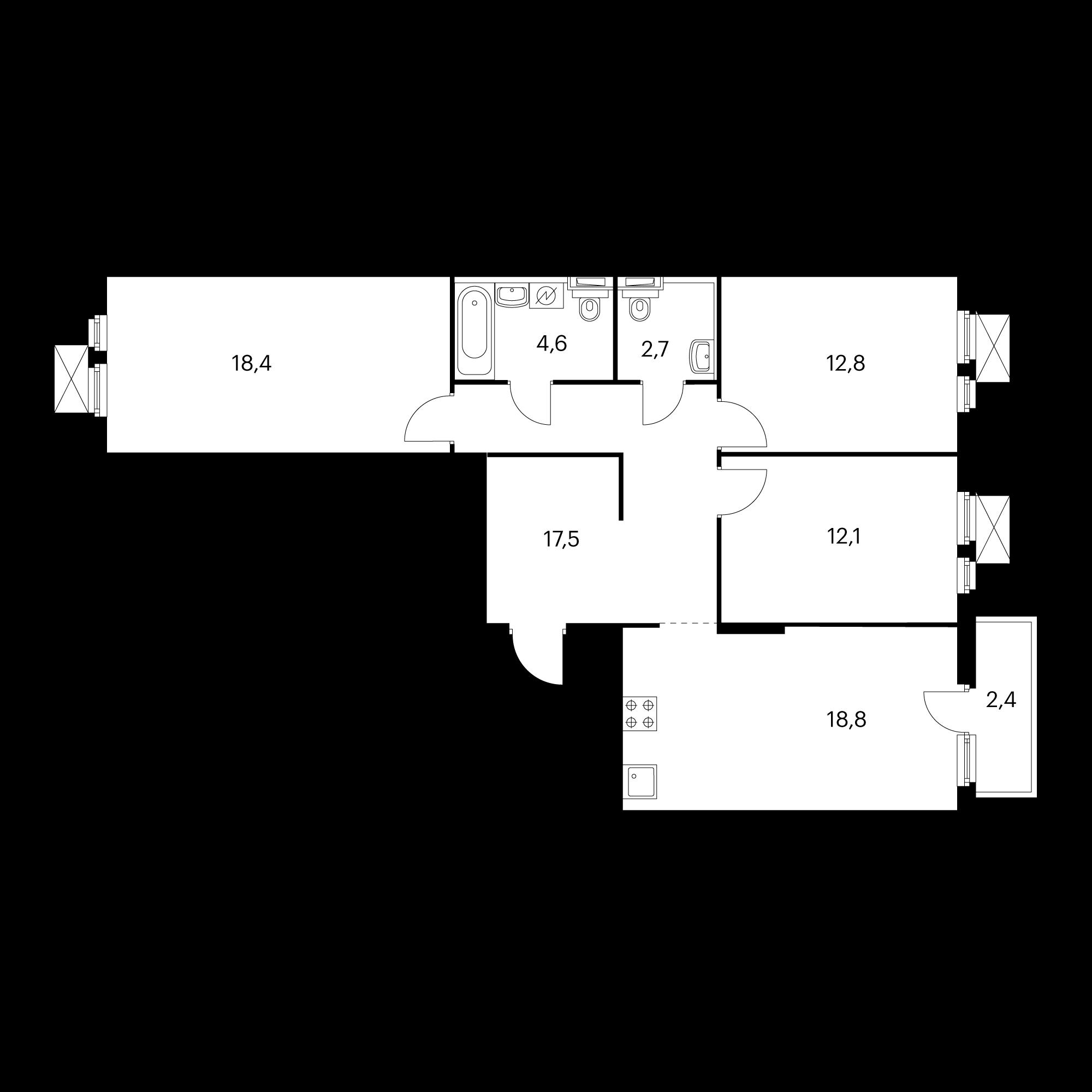 3-комнатная 87.7 м²