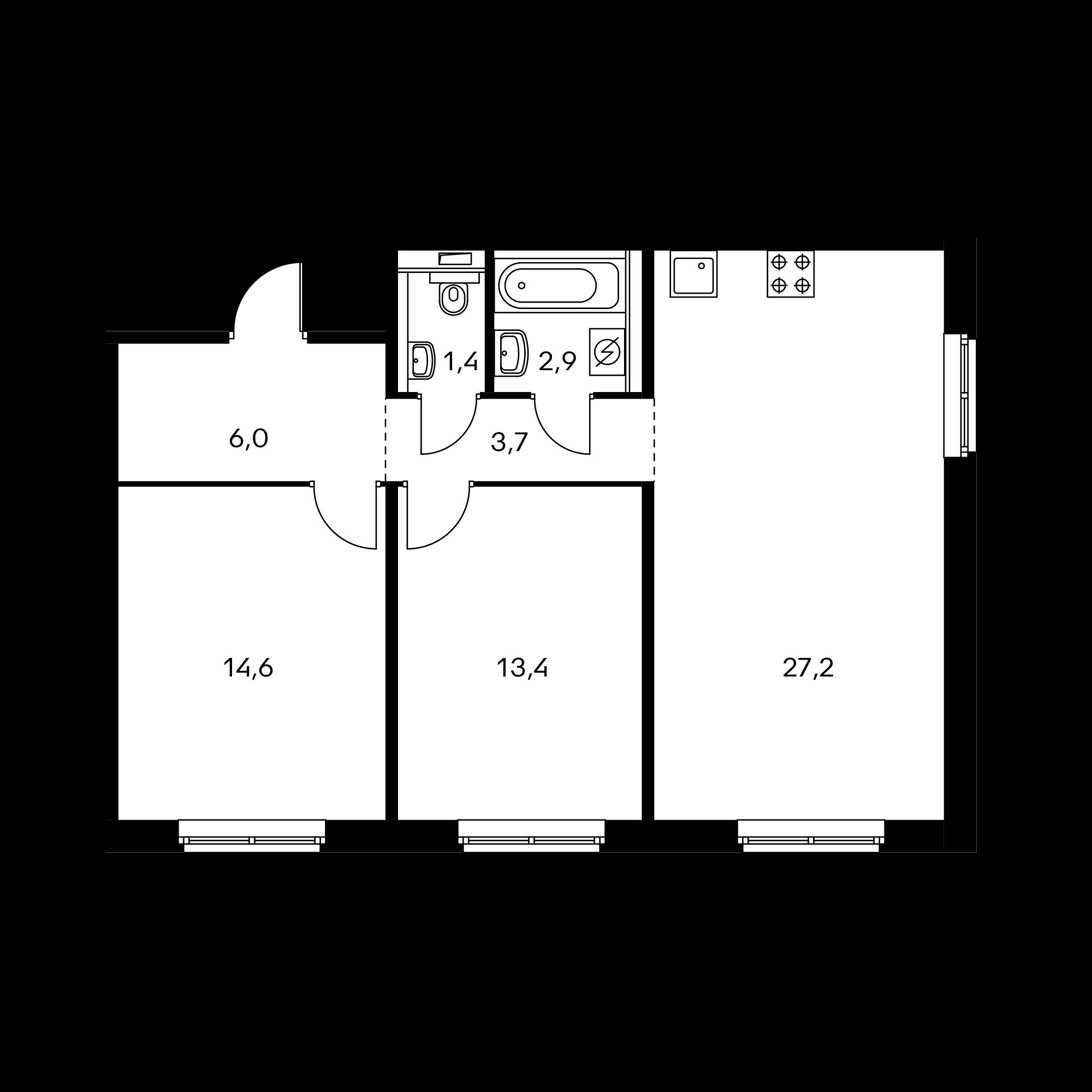 2-комнатная 69.2 м²
