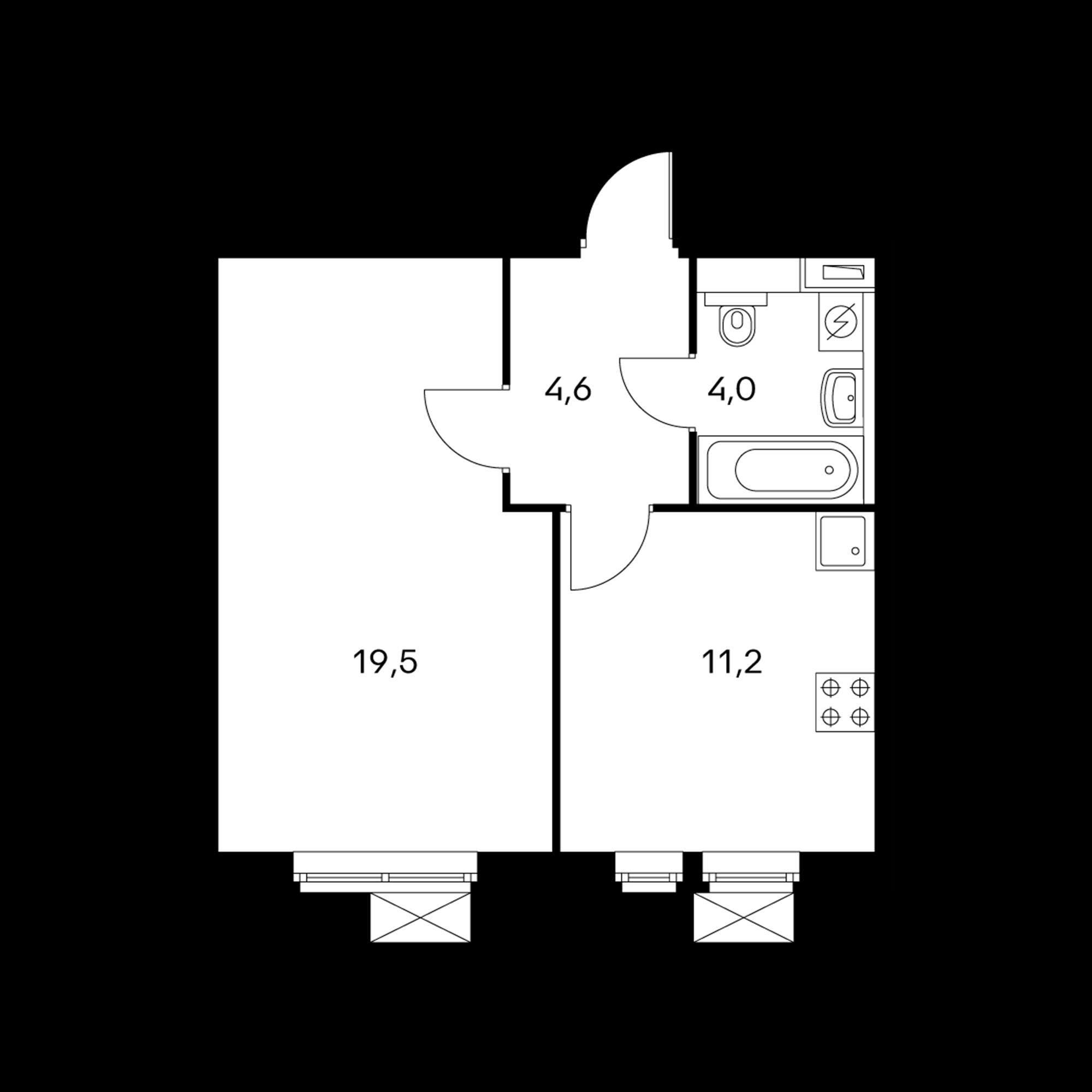 1-комнатная 39.3 м²