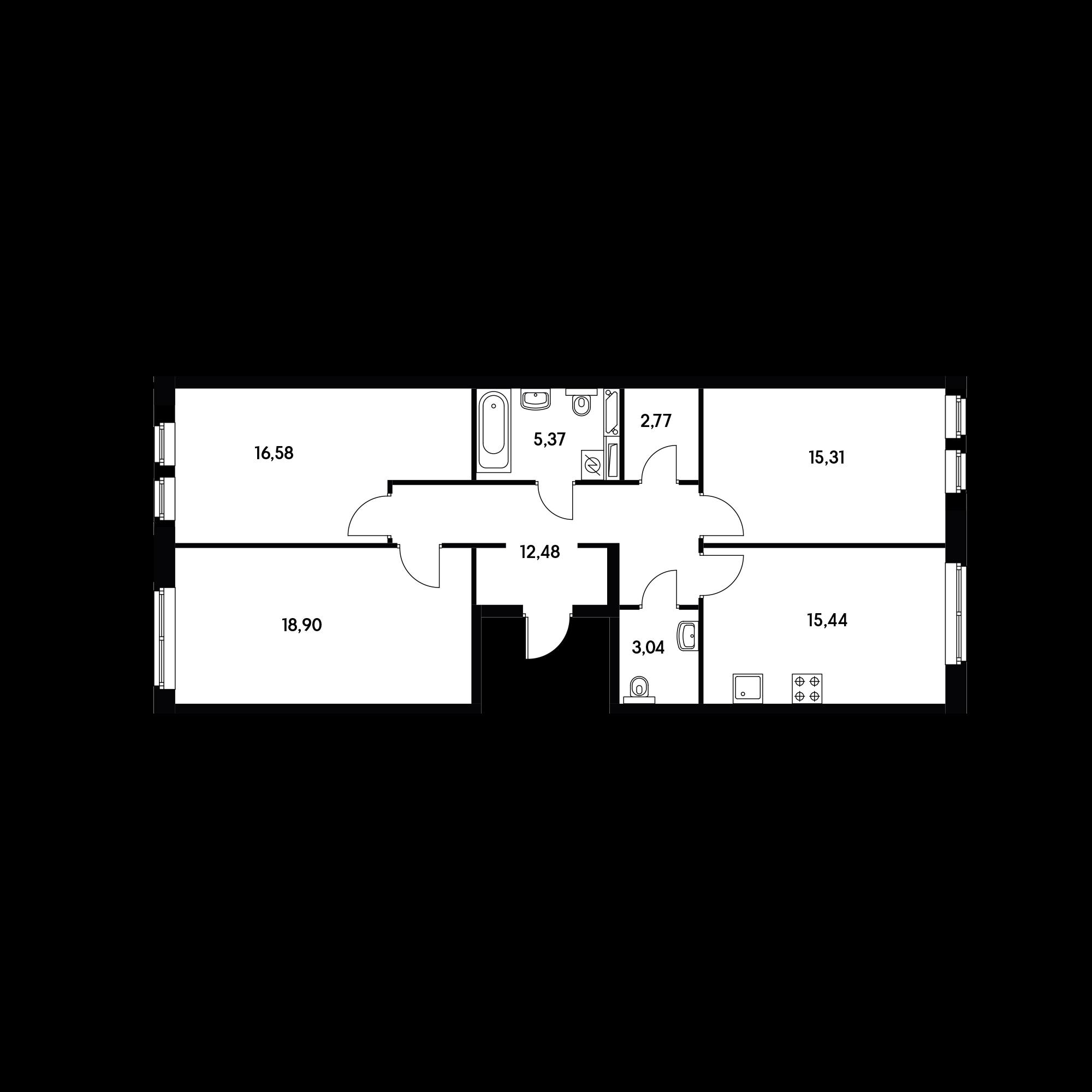 3-комнатная 89.89 м²