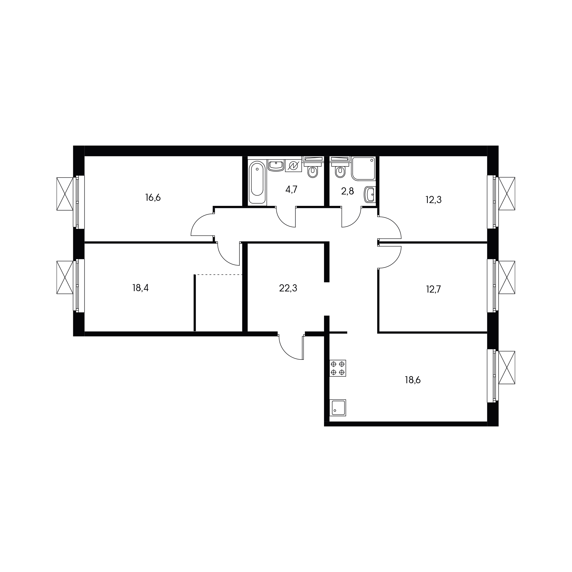 4-комнатная 108.4 м²