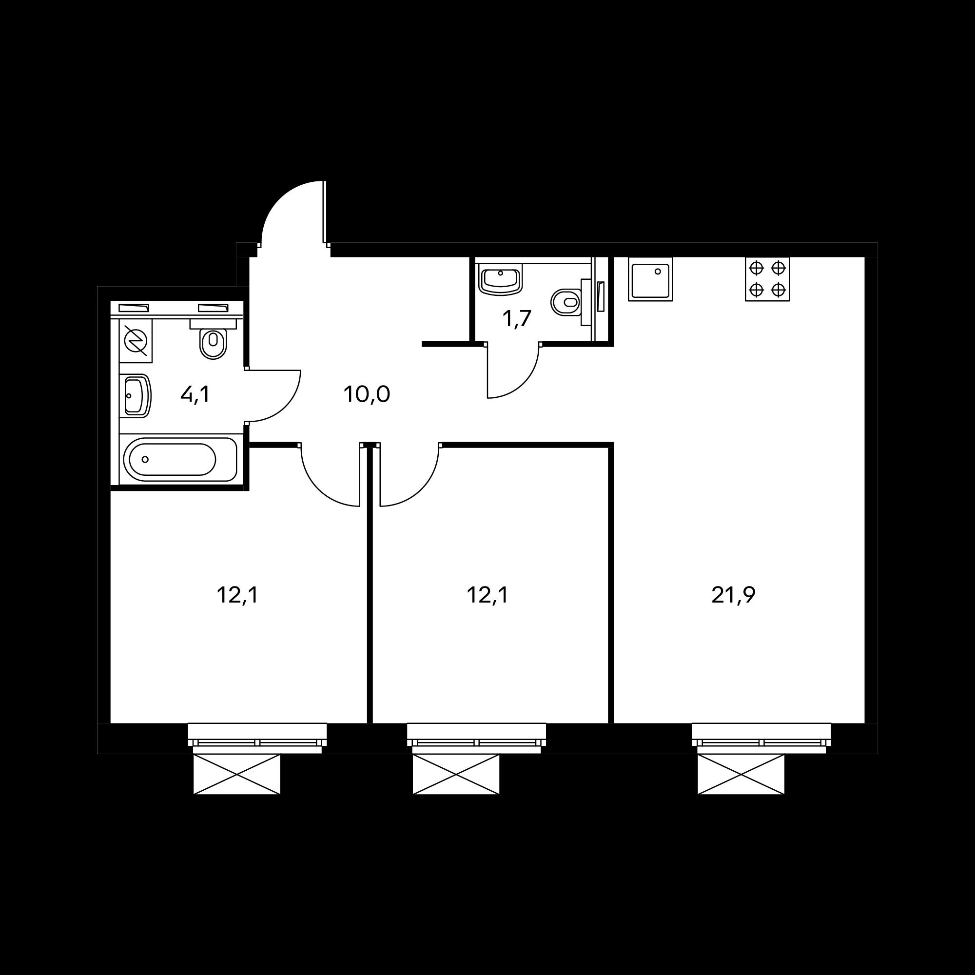 2-комнатная 62  м²