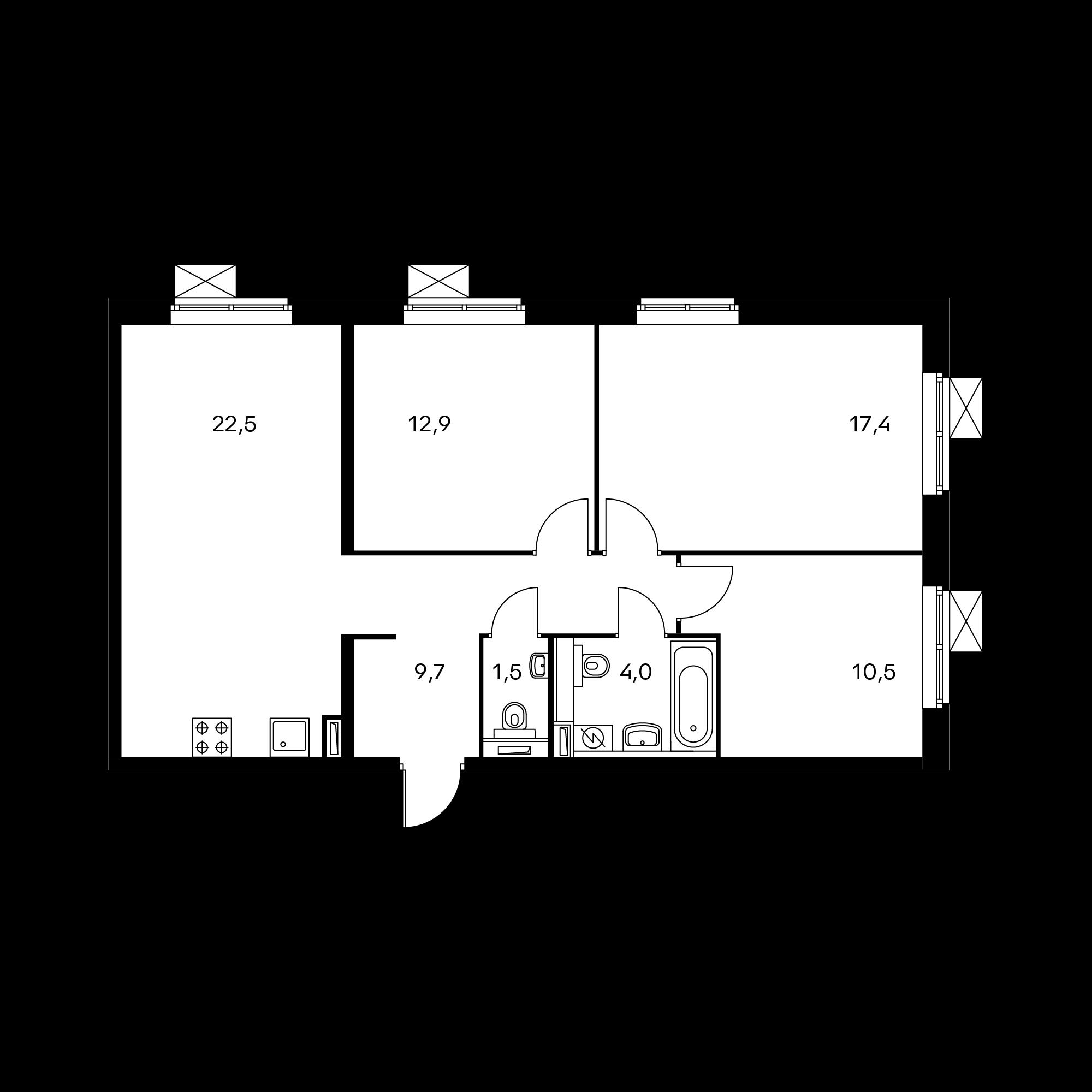 3-комнатная 78.5  м²