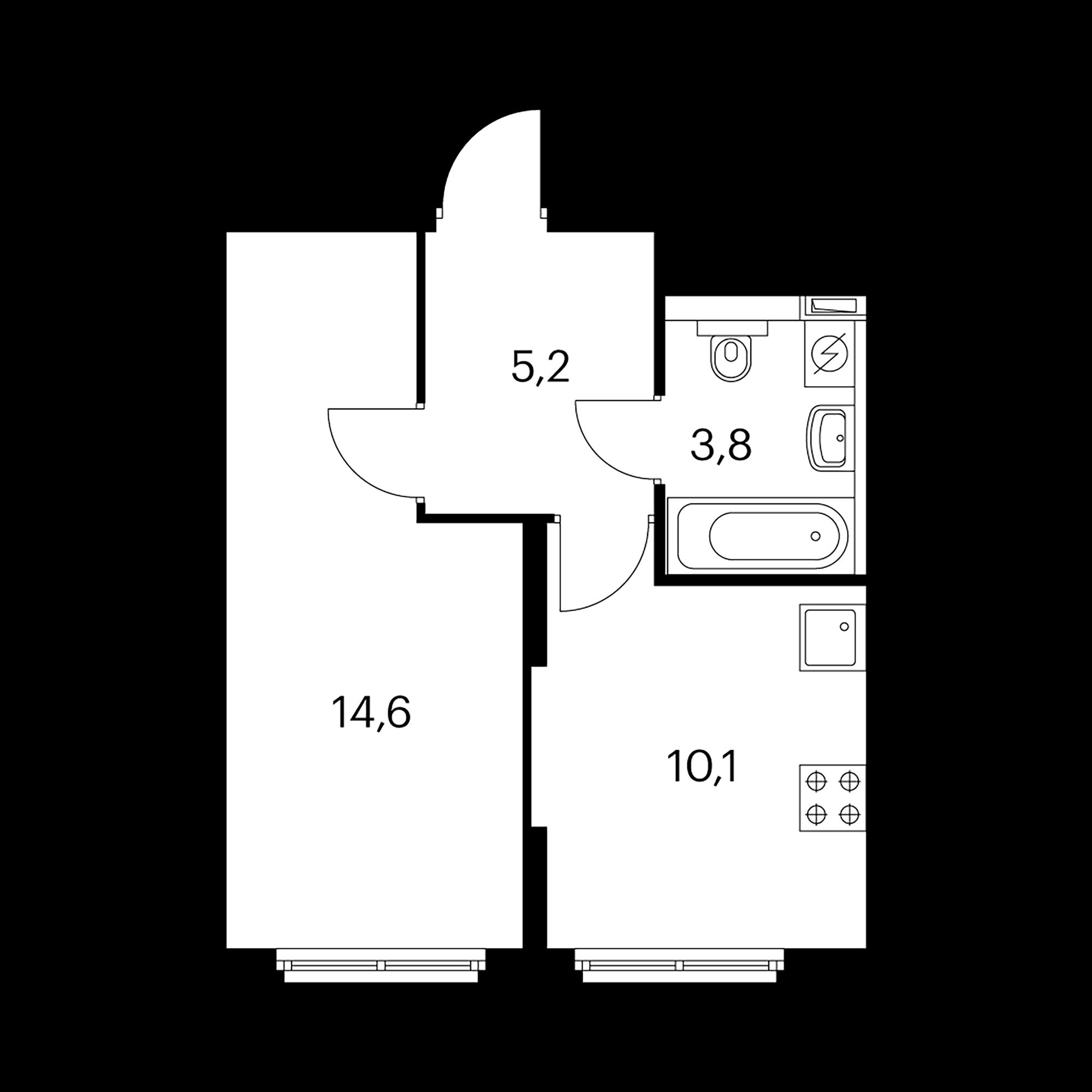 1-комнатная 33.7 м²