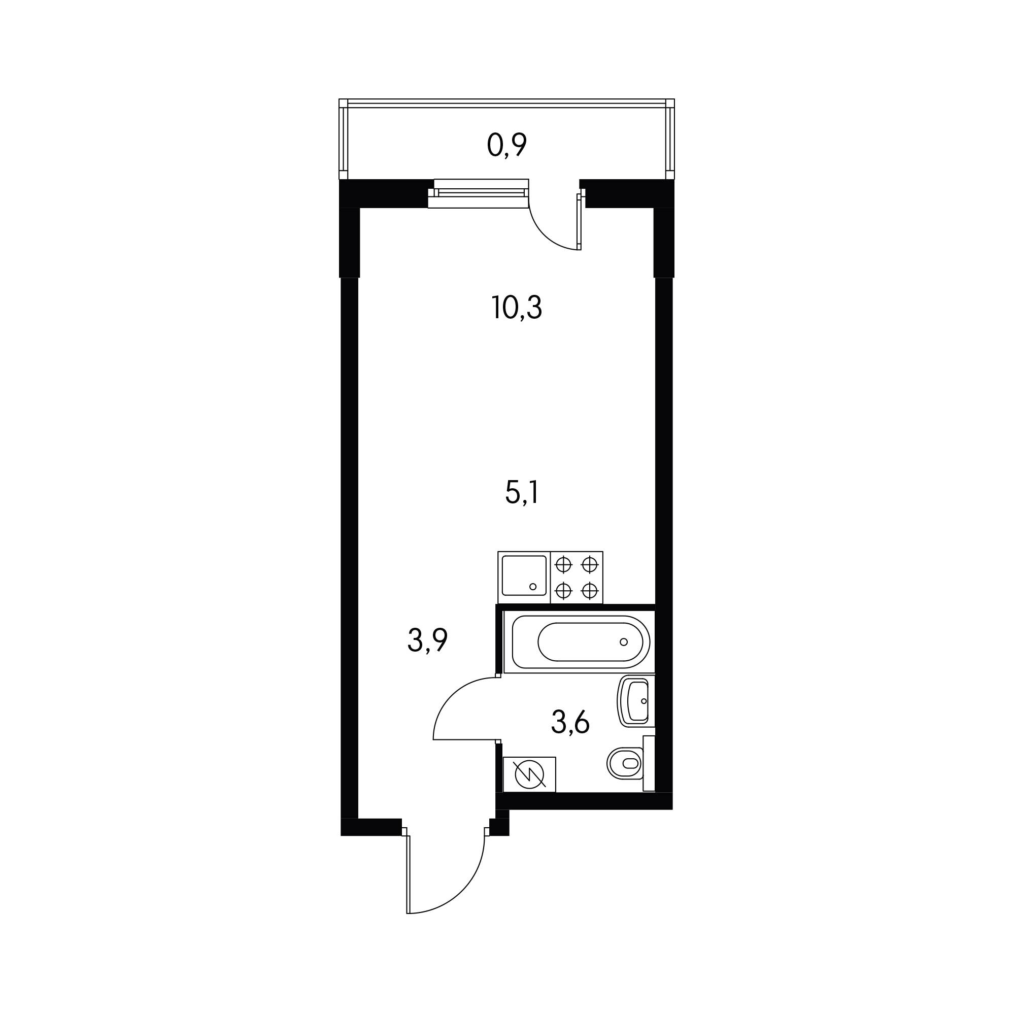 Студия 22.8  м²
