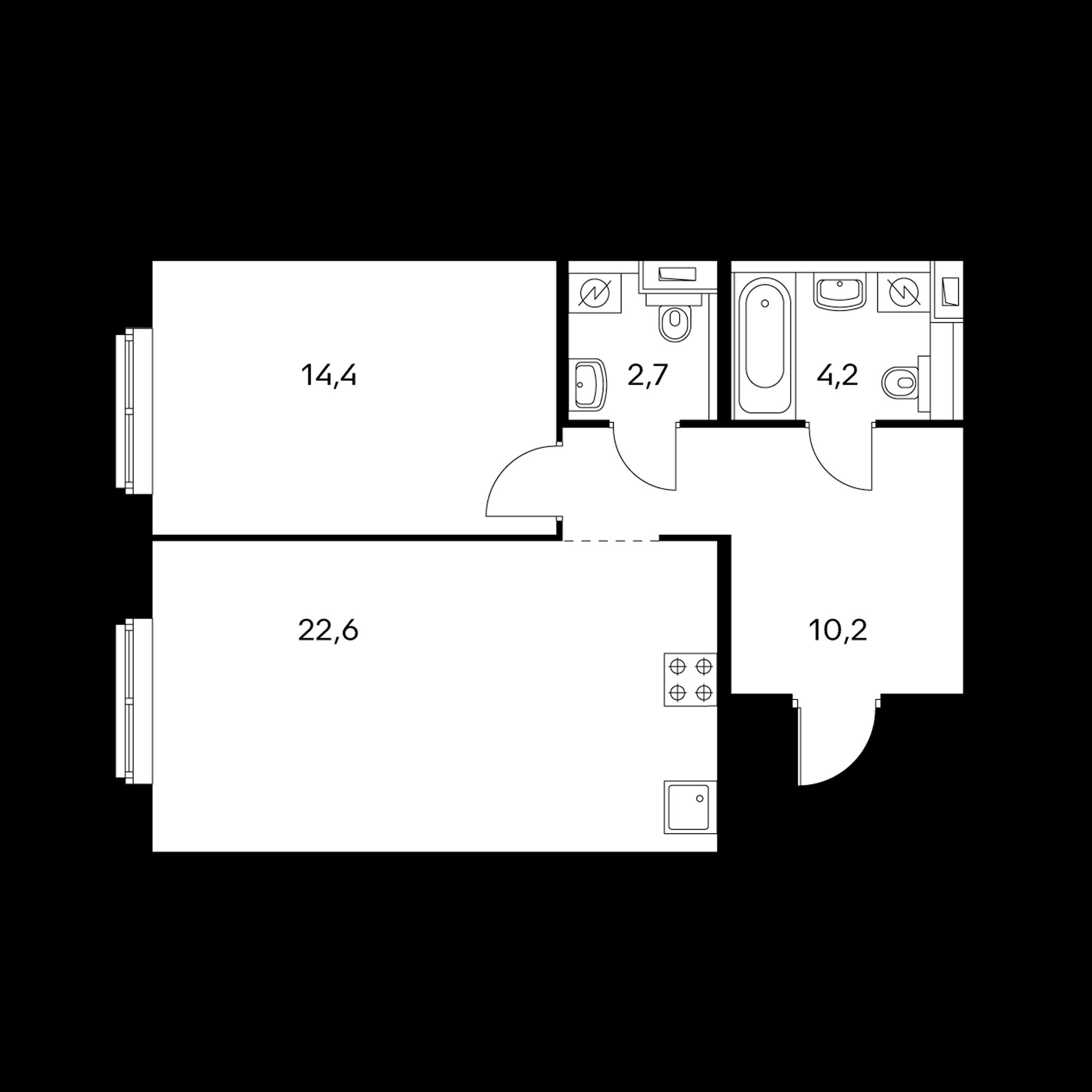 1-комнатная 53.7 м²