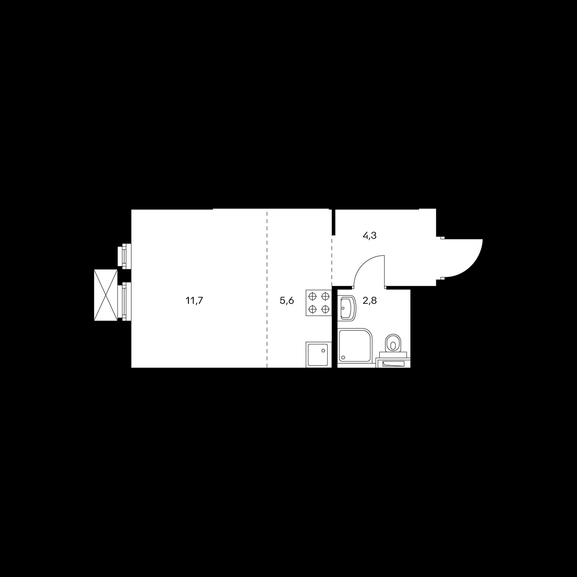 Студия 24.4  м²