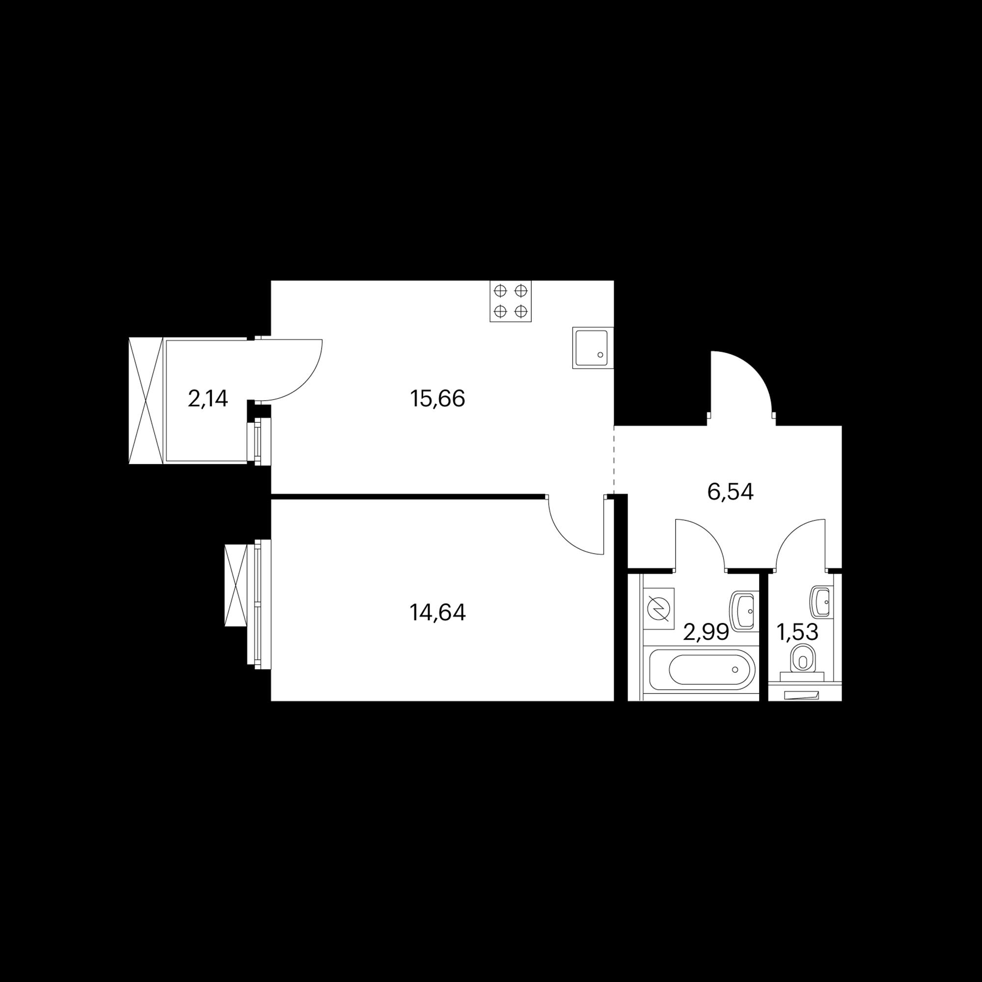 1-комнатная 42.13 м²