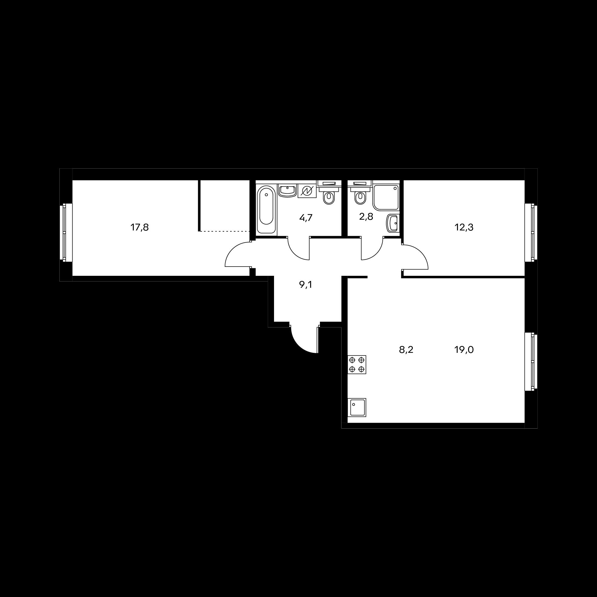 3-комнатная 72.2 м²
