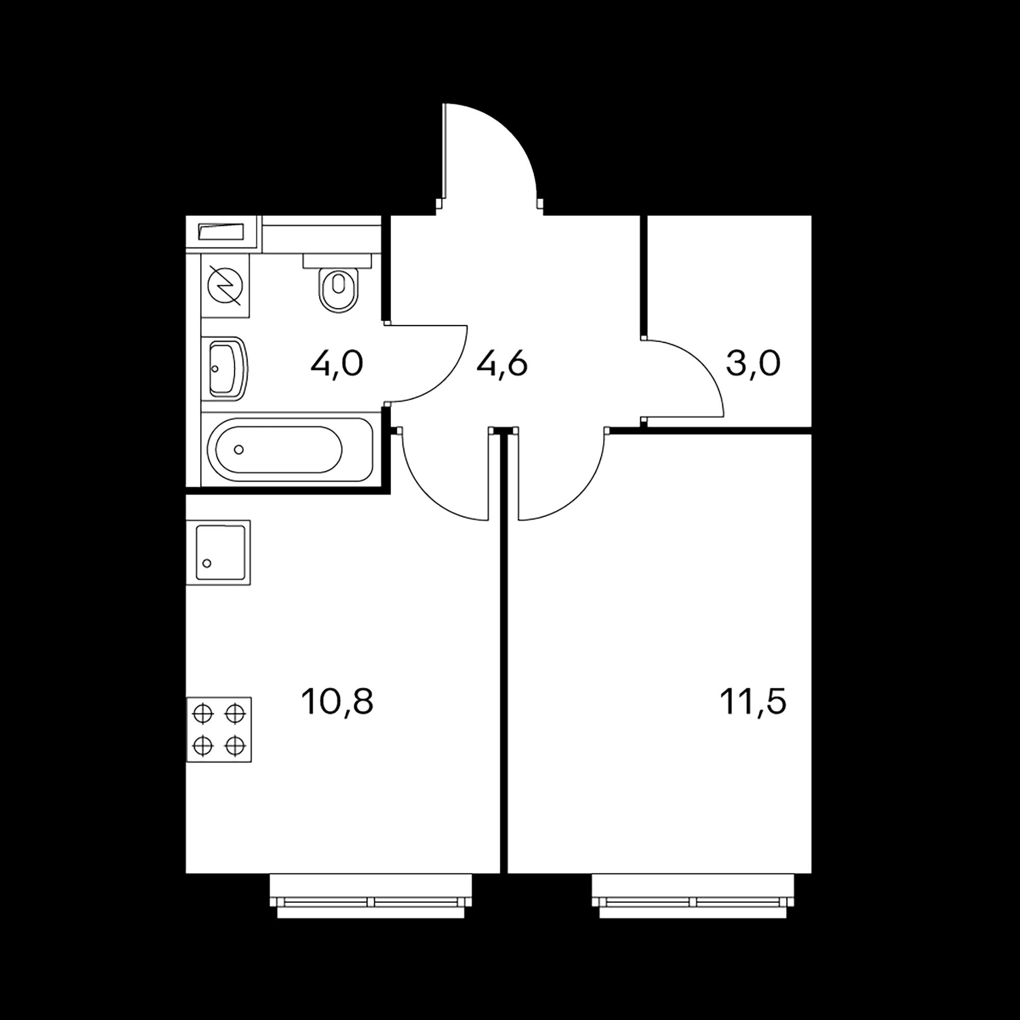 1-комнатная 33.9  м²
