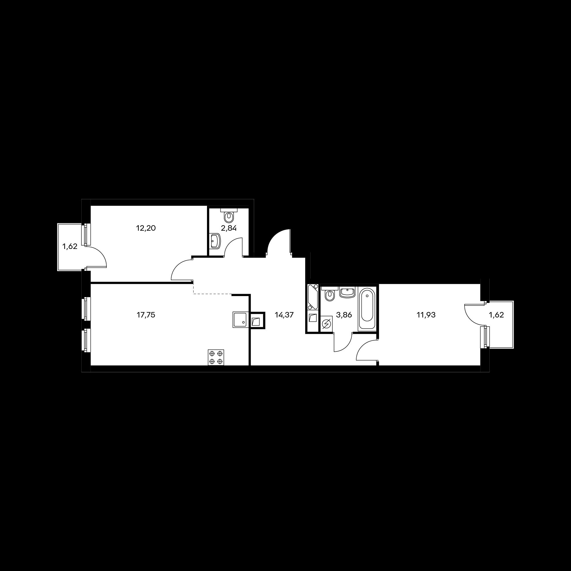 2-комнатная 63.93 м²