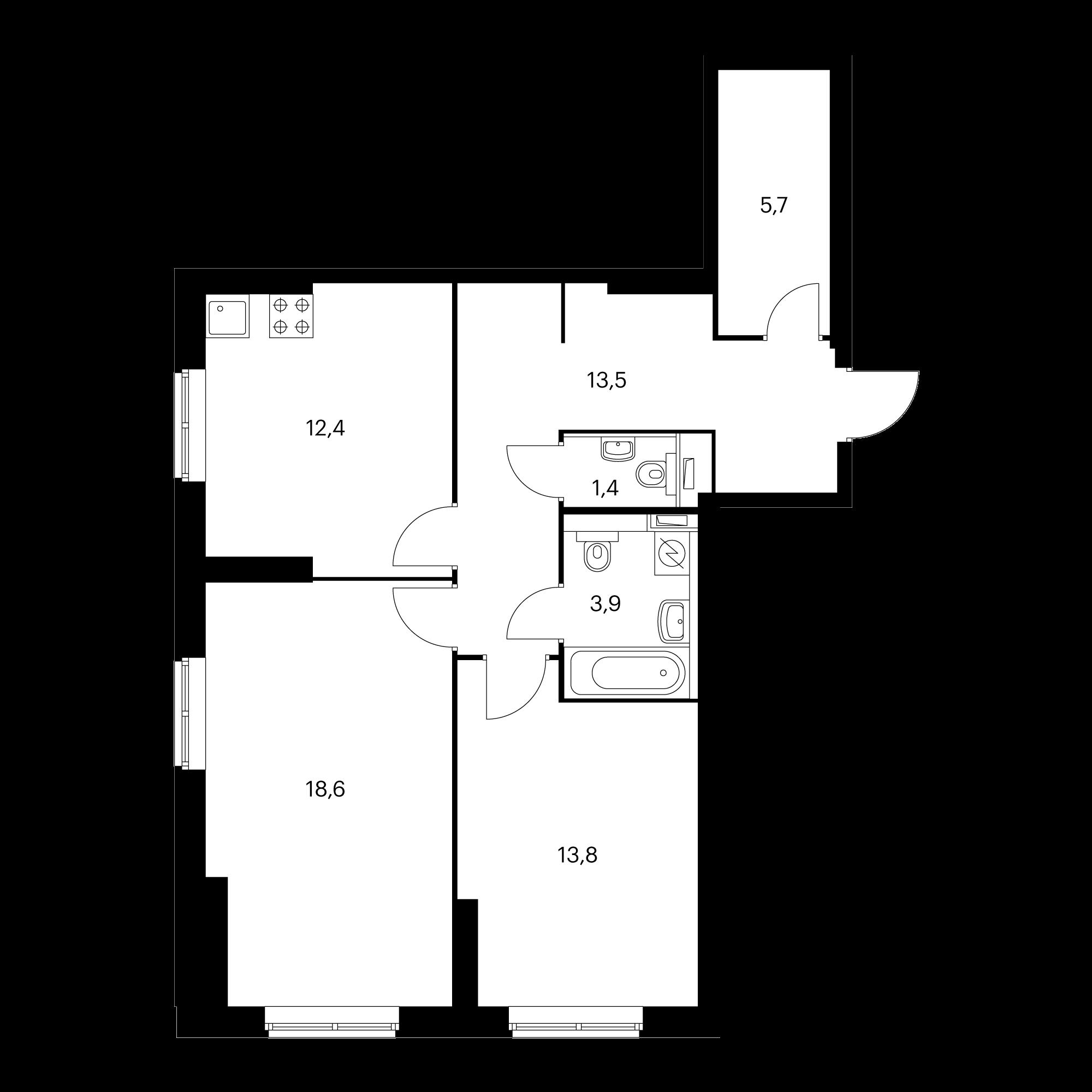 2-комнатная 69.3  м²