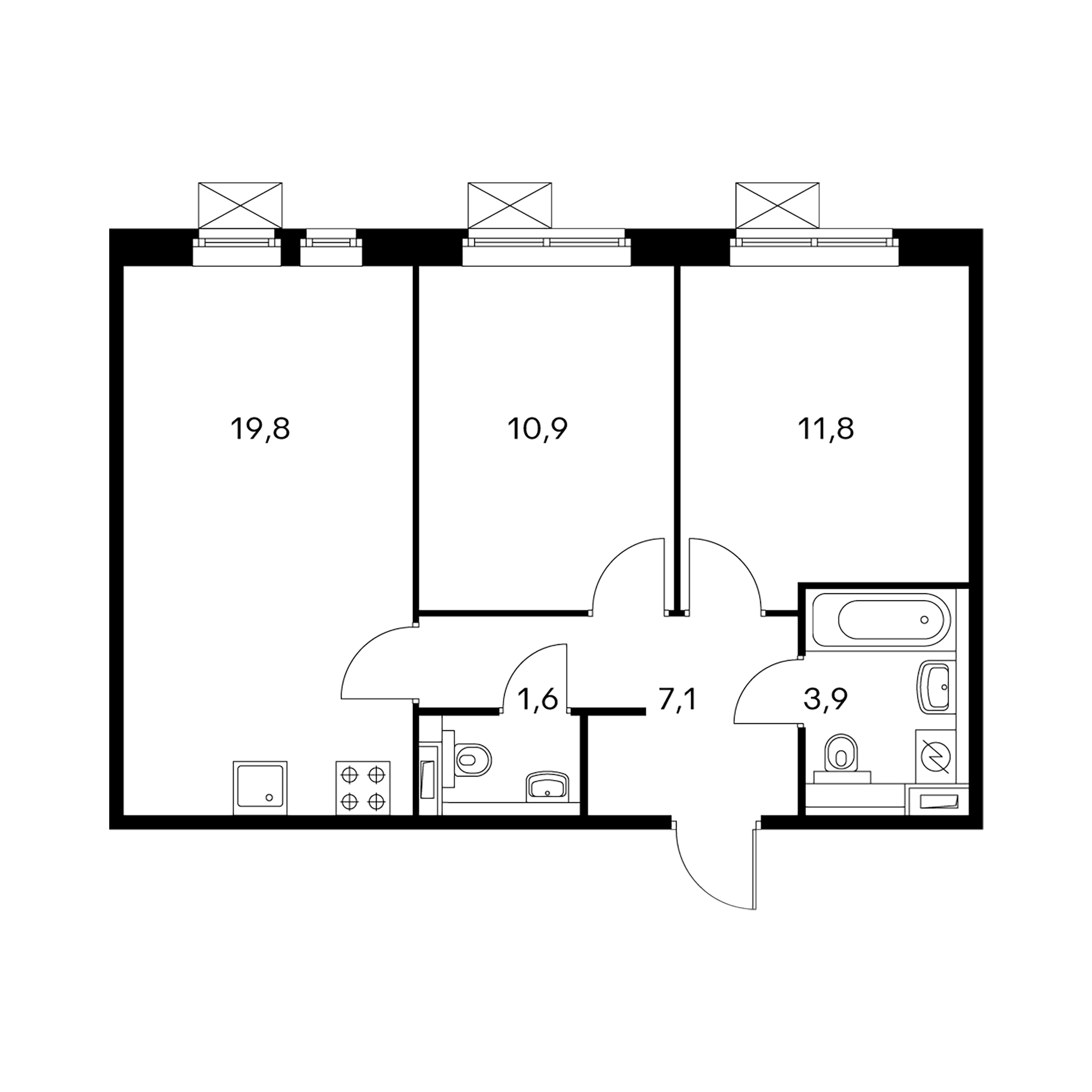 2-комнатная 55.1 м²