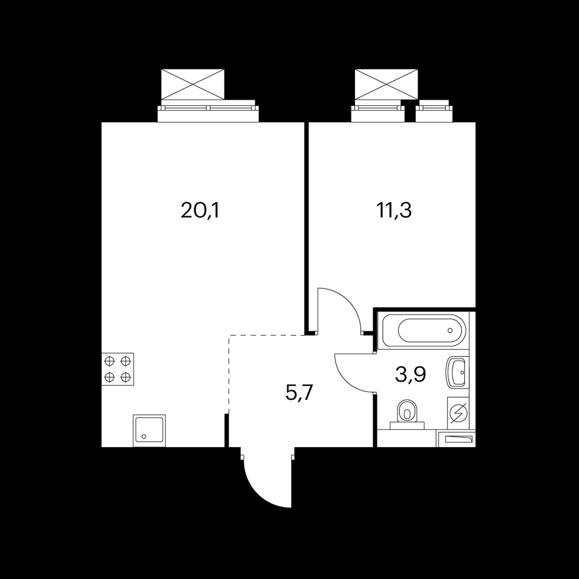 1-комнатная 41 м²