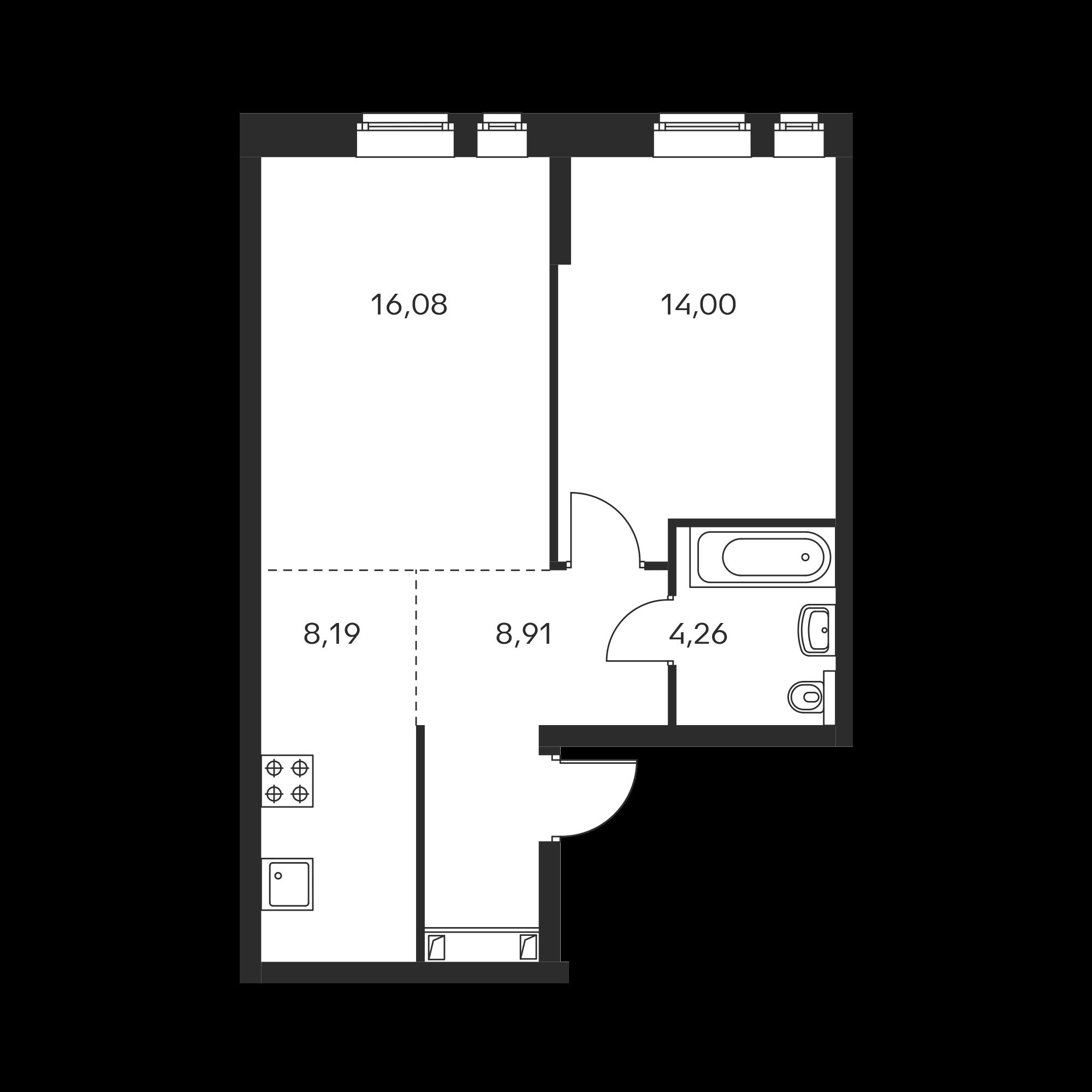 2-комнатная 51.44 м²