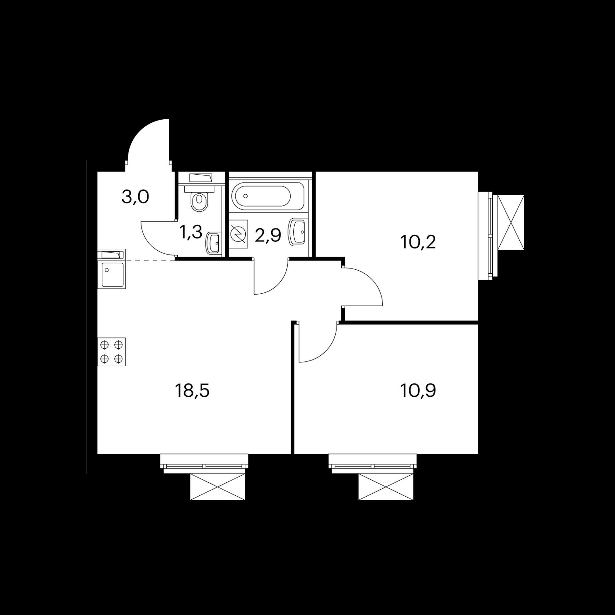 2-комнатная 46.8  м²
