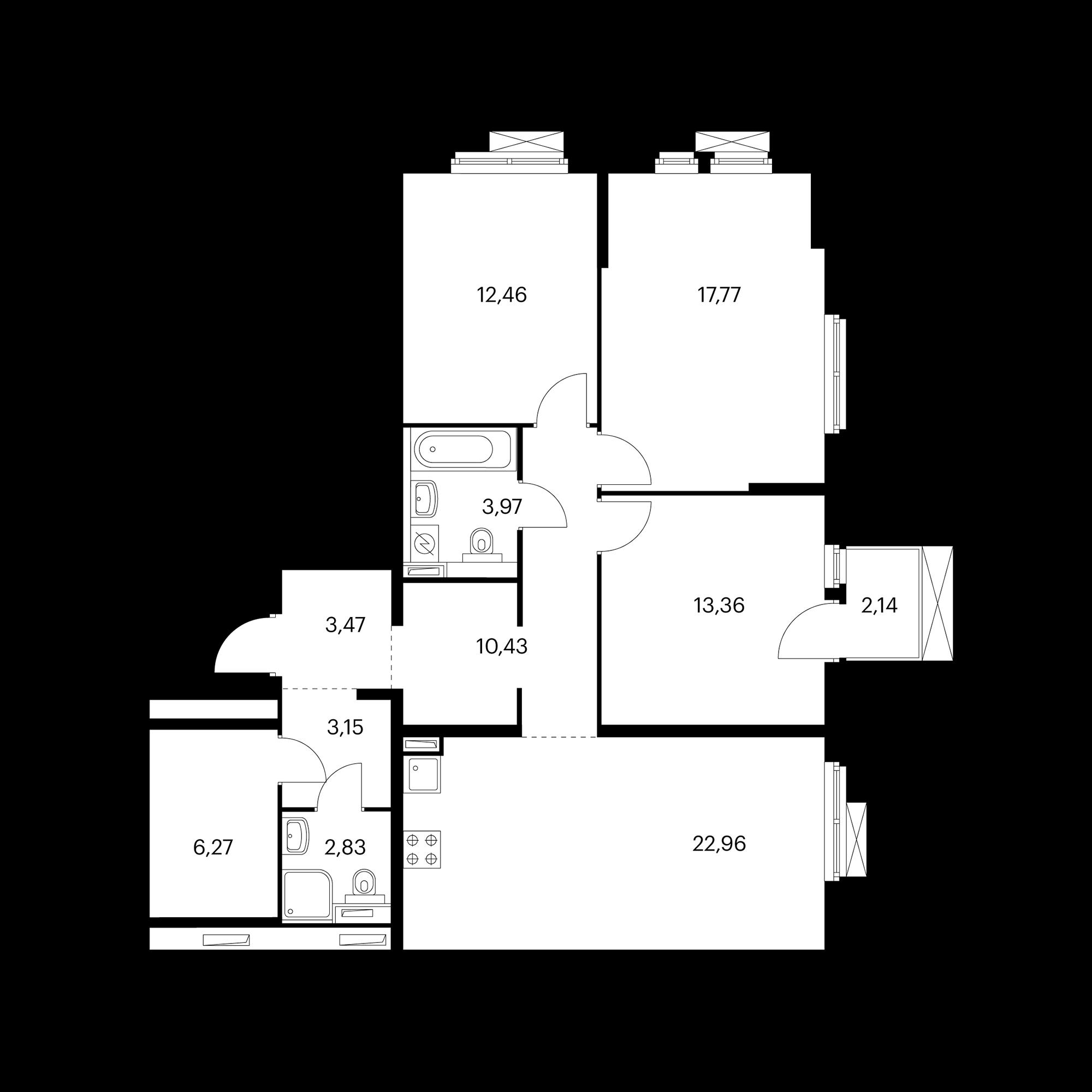 3-комнатная 97.31  м²