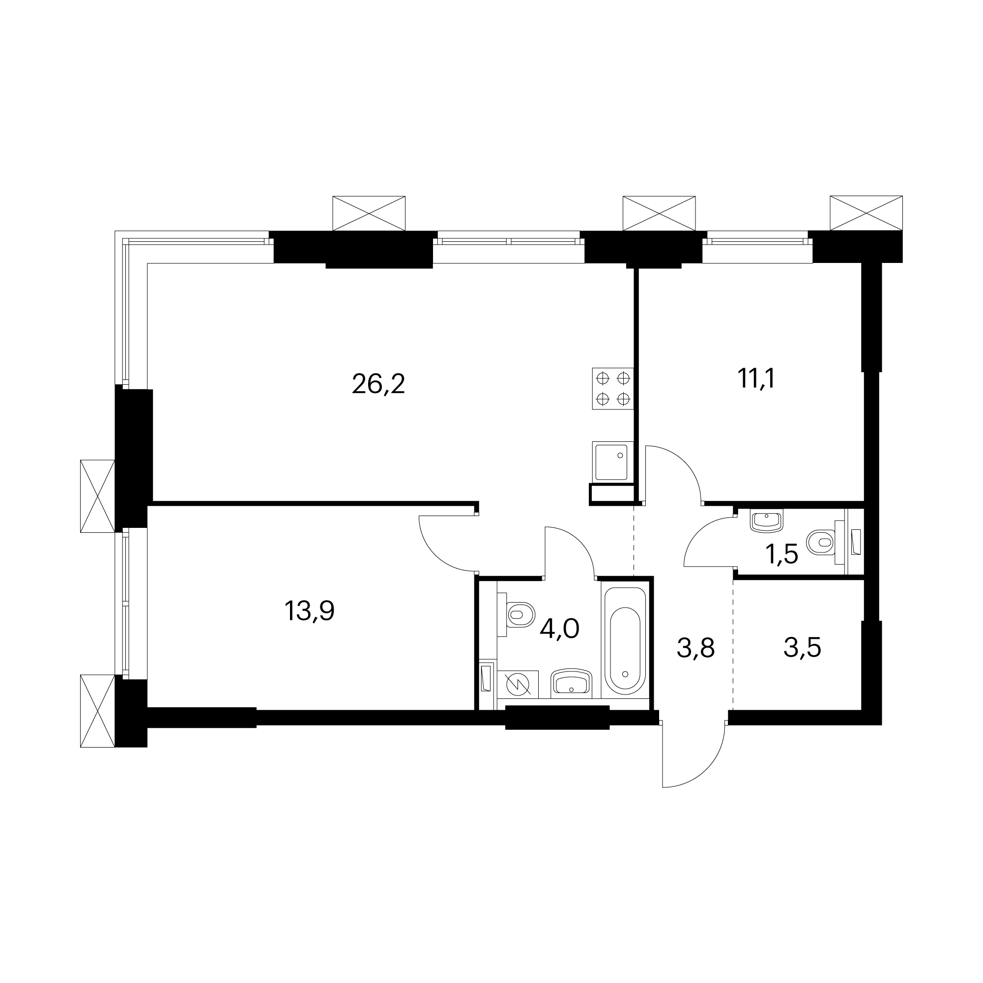 2-комнатные 64  м²