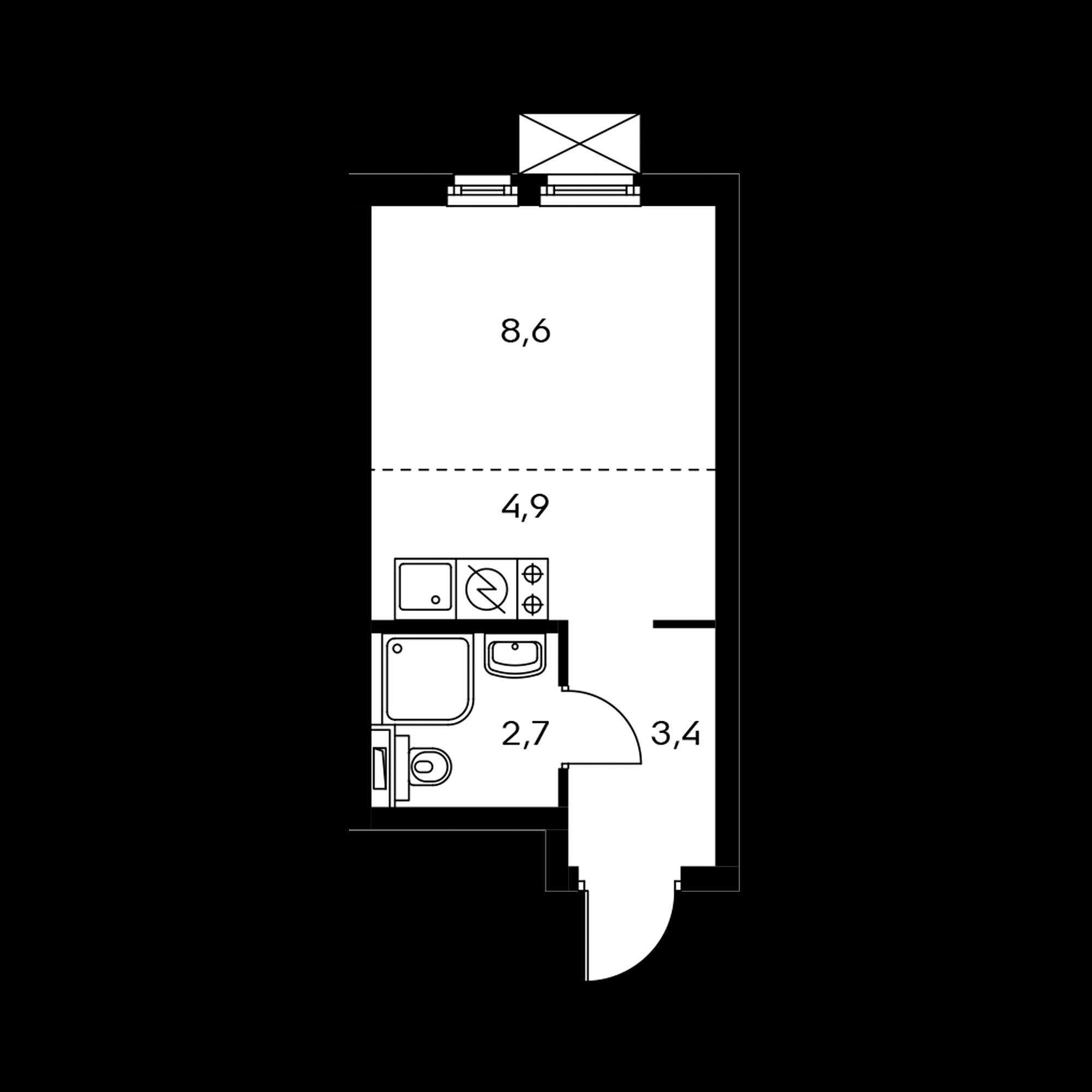 Студия 19.6  м²