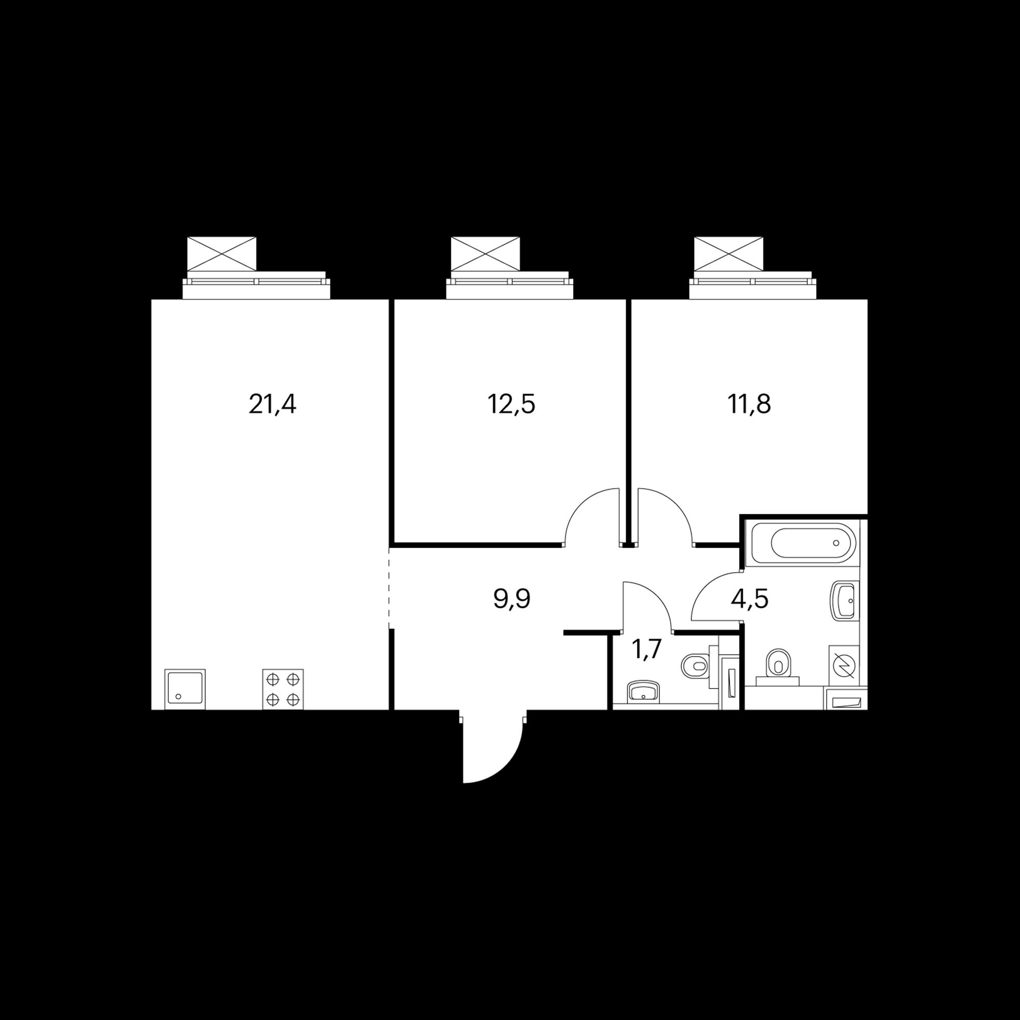 2-комнатная 61.8  м²